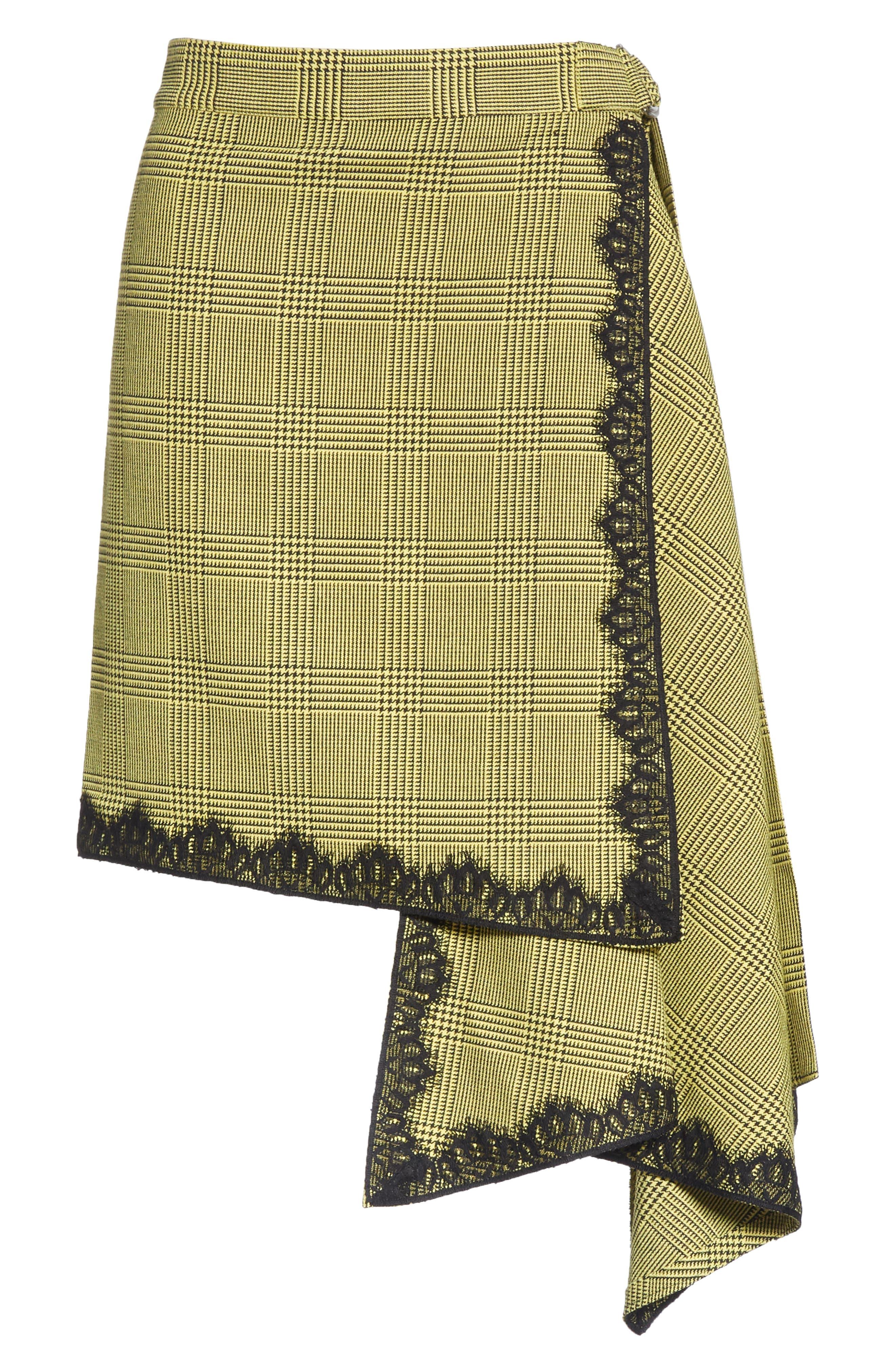 Lace Trim Plaid Skirt,                             Alternate thumbnail 6, color,                             BLACK/ YELLOW