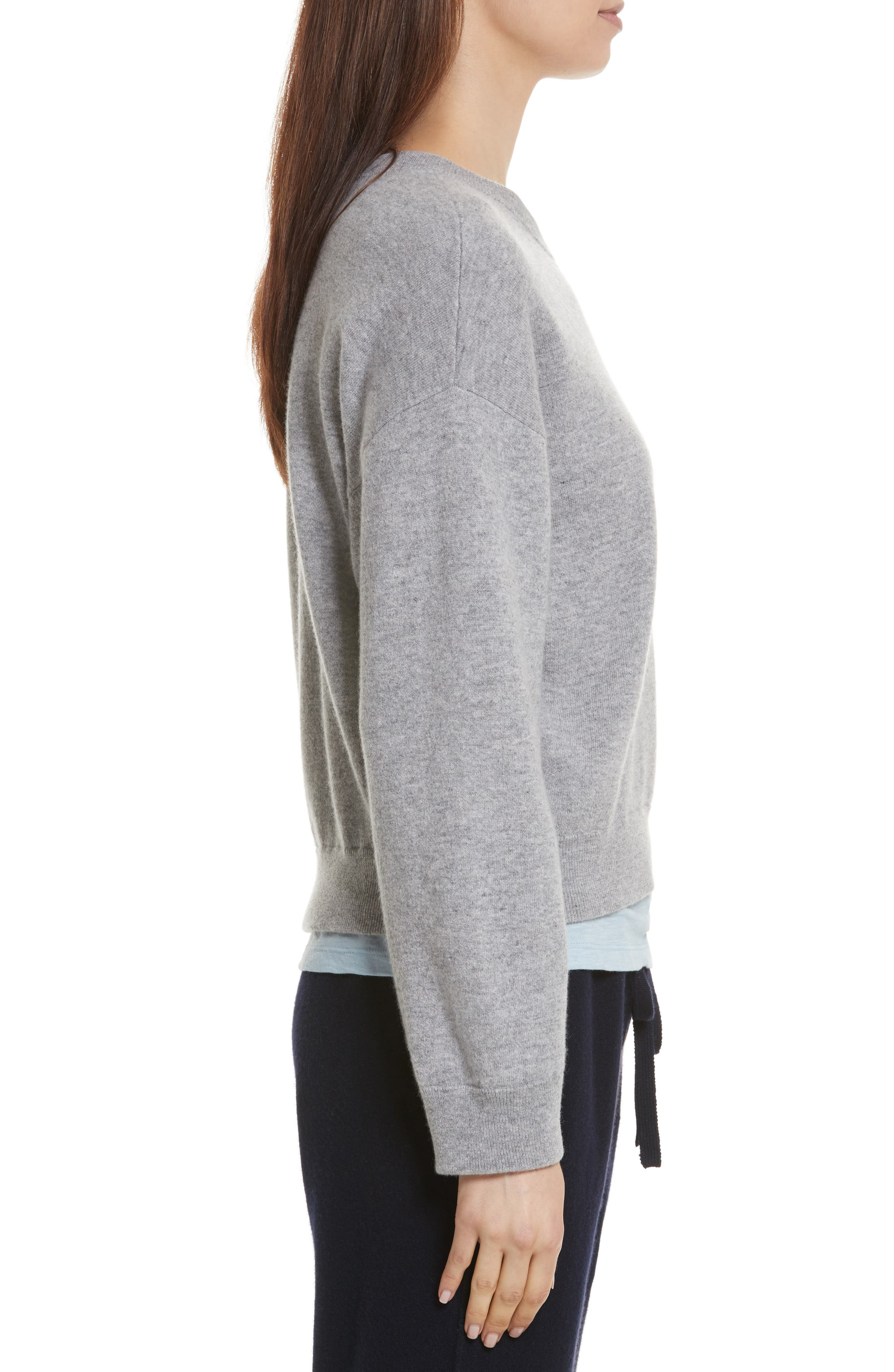 Double Layer Cashmere & Cotton Sweater,                             Alternate thumbnail 3, color,                             081