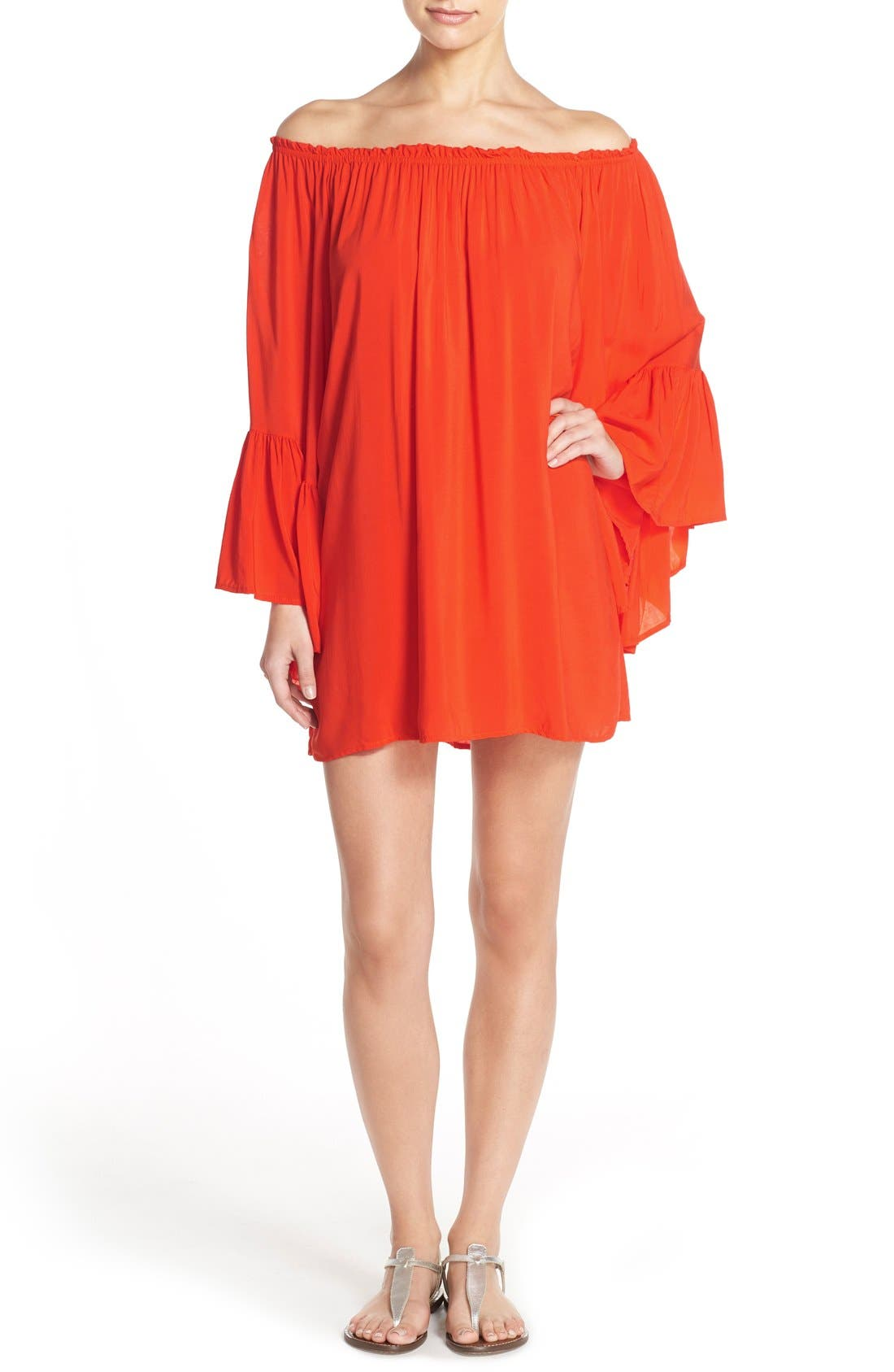 Bell Sleeve Cover-Up Tunic Dress,                             Main thumbnail 5, color,