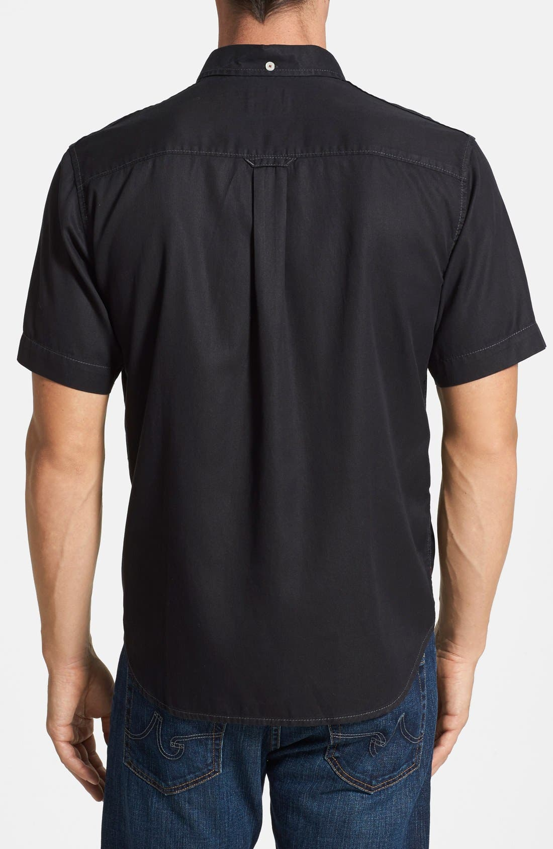 'New Twilly' Island Modern Fit Short Sleeve Twill Shirt,                             Alternate thumbnail 2, color,                             001