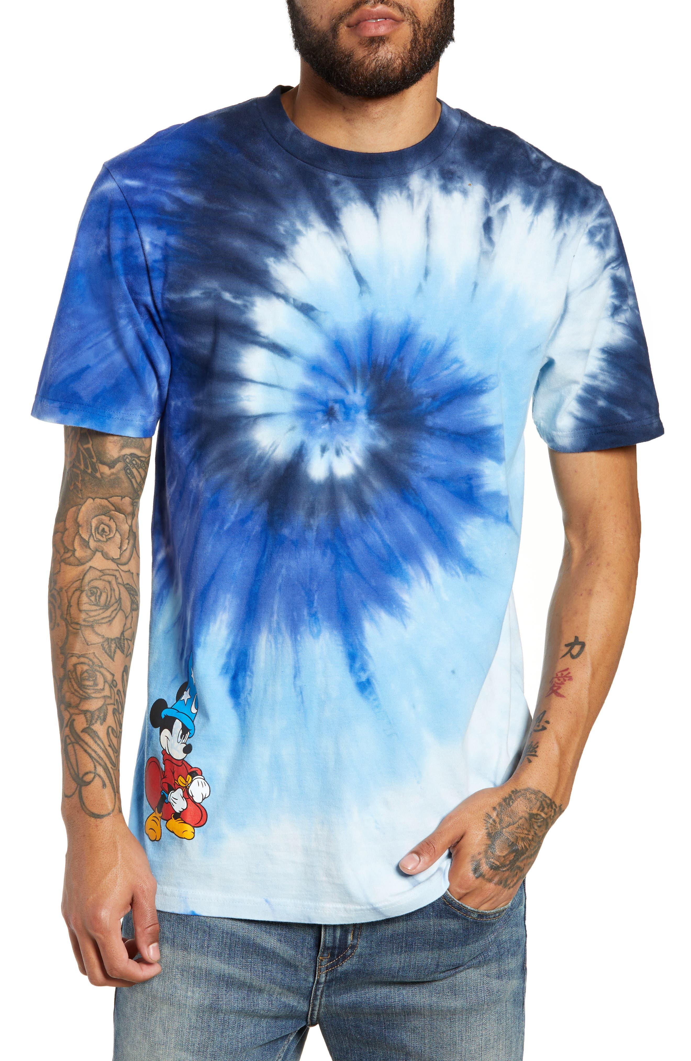 x Disney Mickey's 90th Anniversary T-Shirt,                         Main,                         color, MICKEY FANTASIA TIE DYE