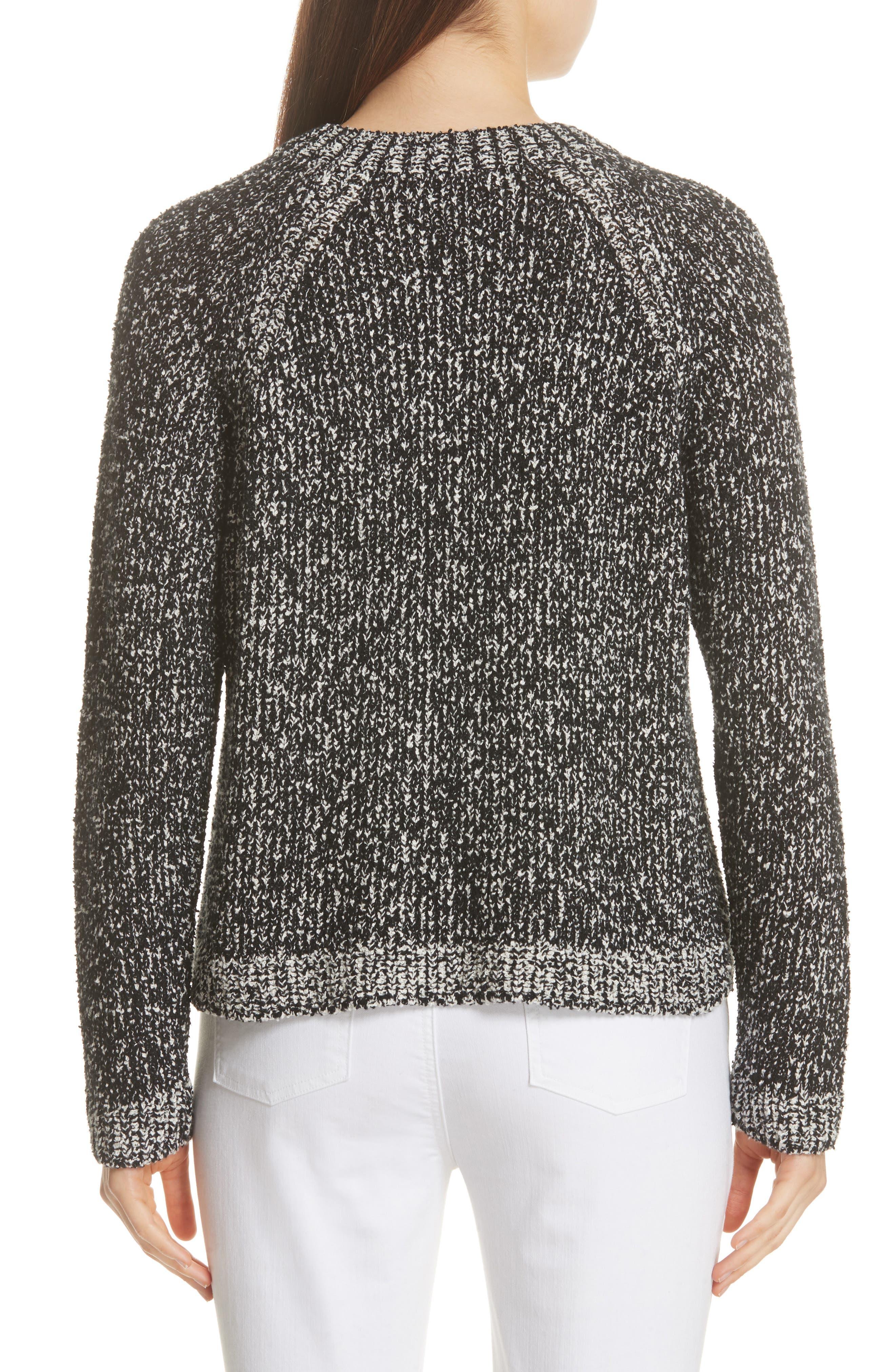 Round Neck Boxy Sweater,                             Alternate thumbnail 2, color,                             BLACK/ SOFT WHITE