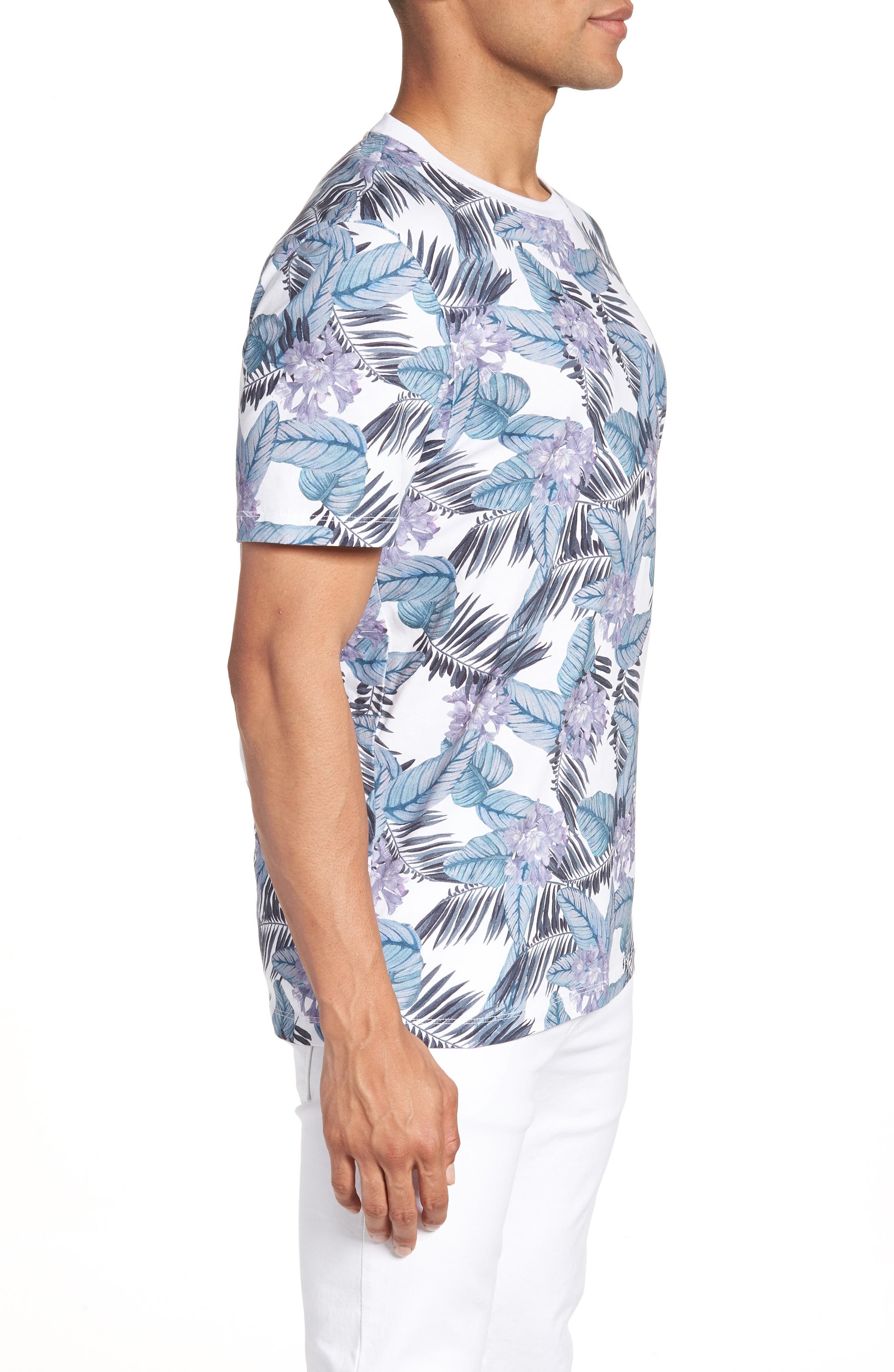 Slim Fit Tinned Floral Graphic T-Shirt,                             Alternate thumbnail 3, color,                             WHITE