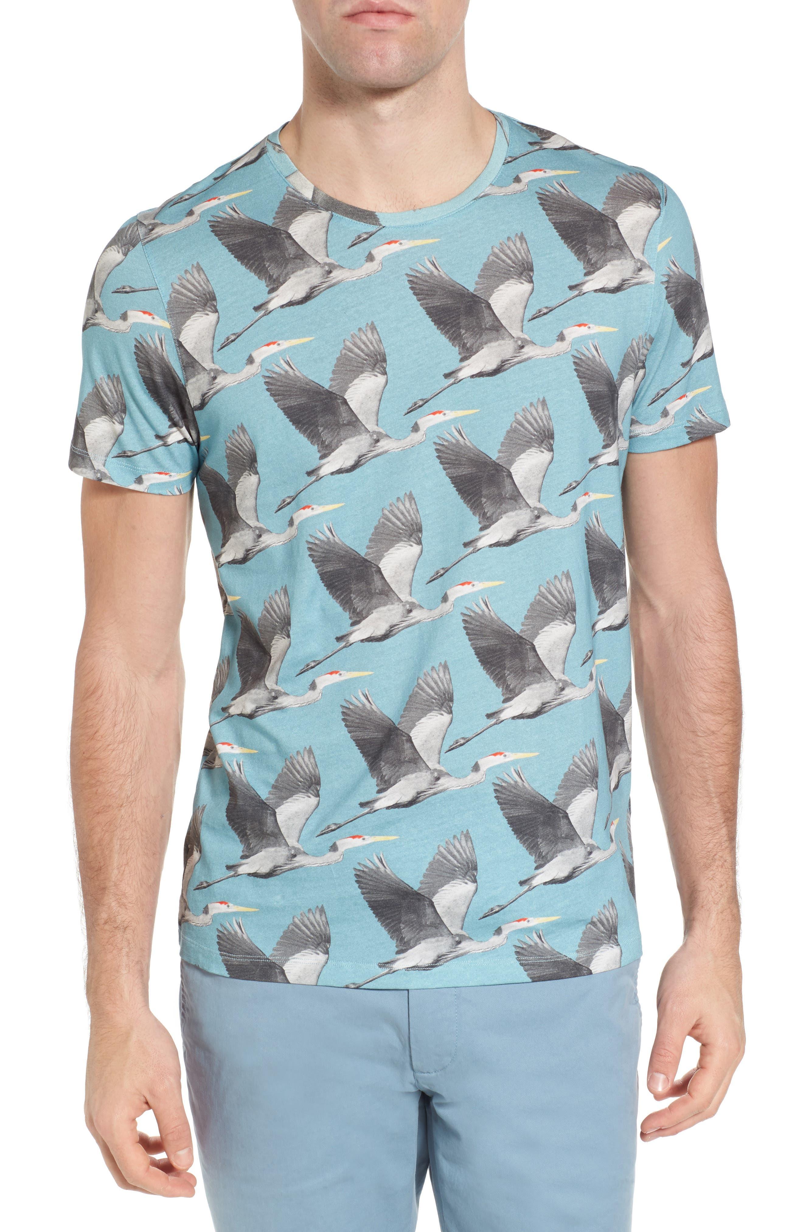 Flute Blue Heron Print T-Shirt,                             Main thumbnail 1, color,                             424