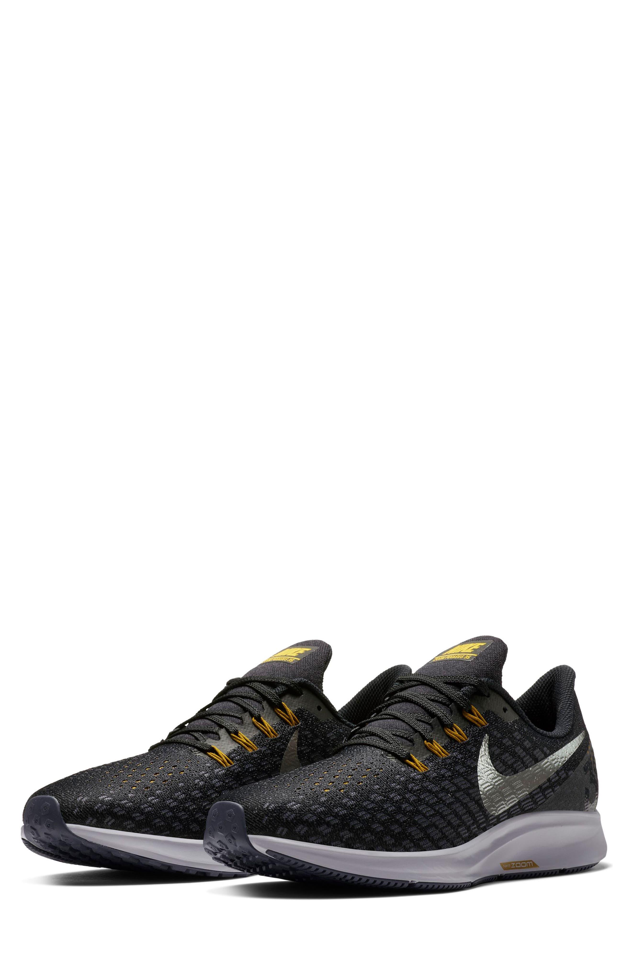 Air Zoom Pegasus 35 Running Shoe,                         Main,                         color, BLACK/ PEWTER/ MOSS