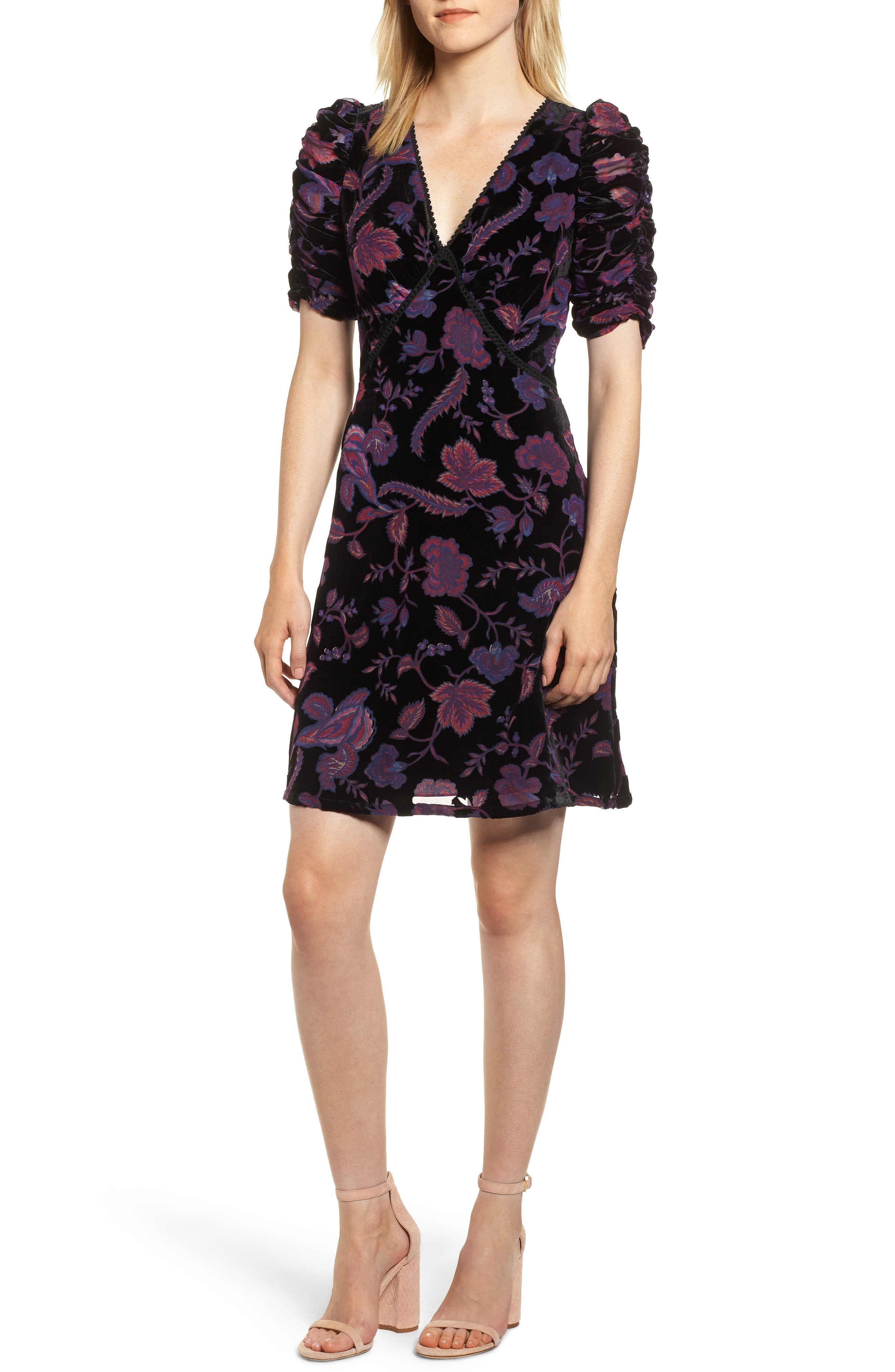 Arlette Floral Velvet Dress,                         Main,                         color, BLACK MULTI
