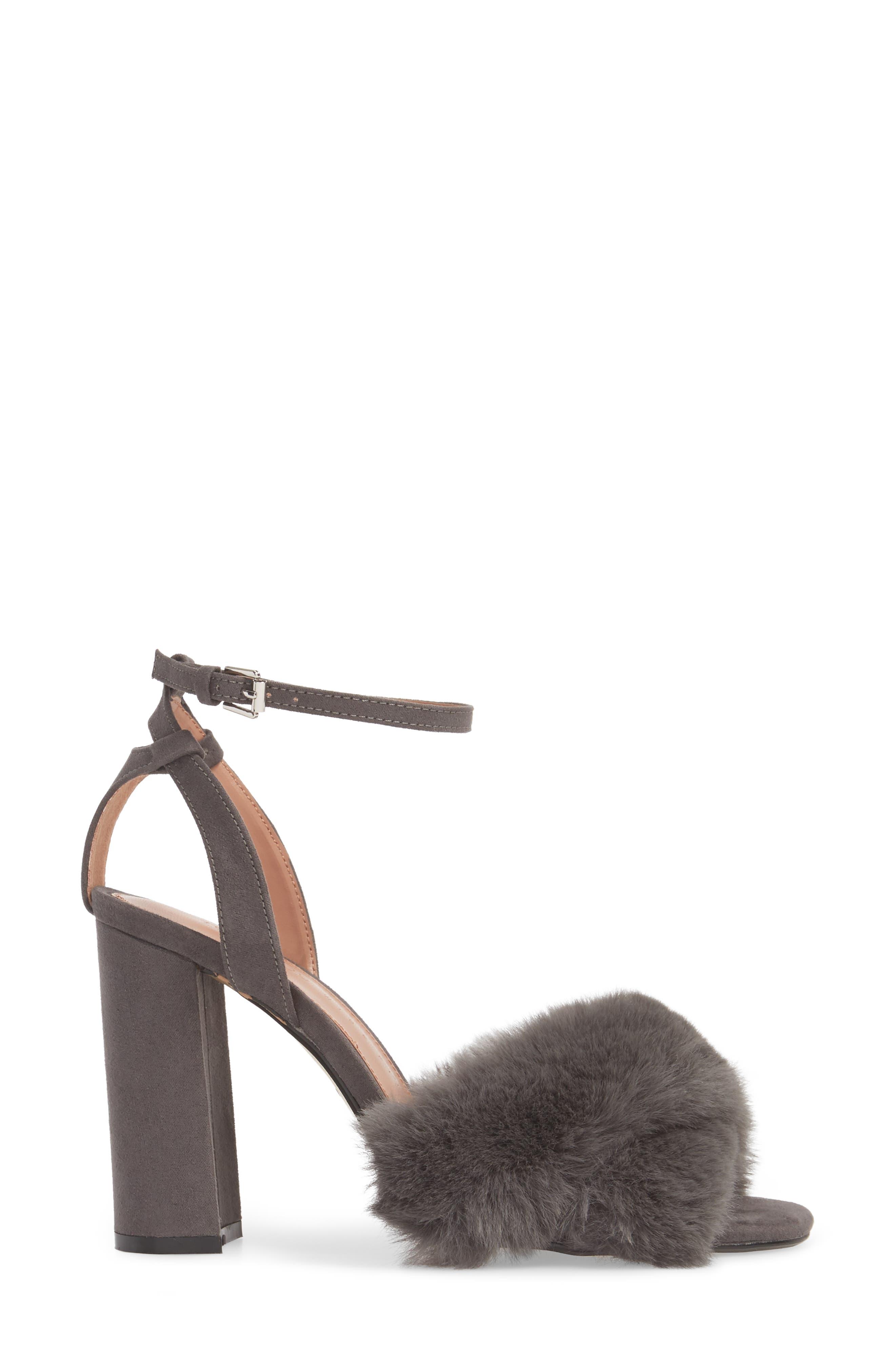 Sassy Faux Fur Sandal,                             Alternate thumbnail 8, color,