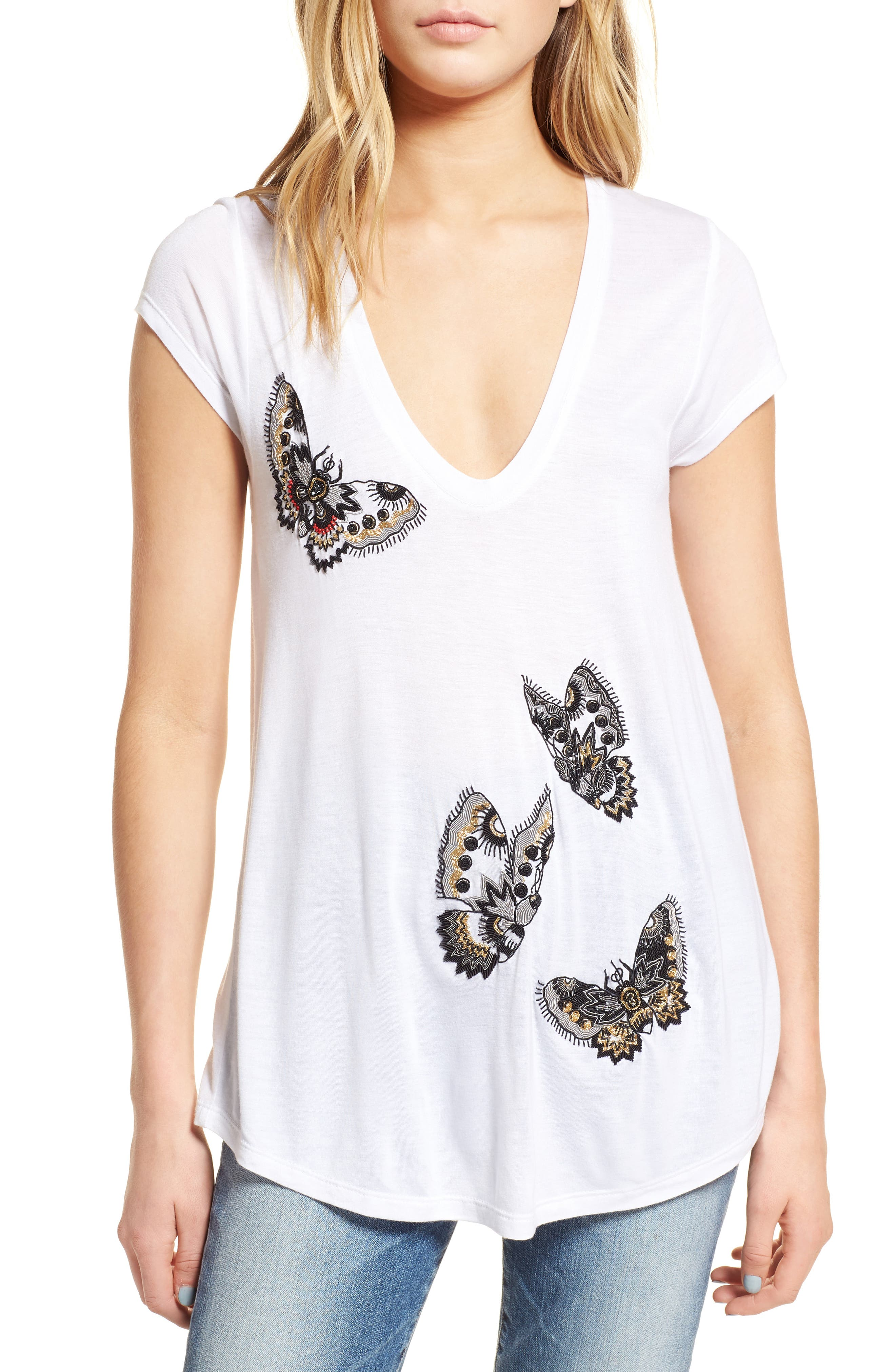Tiny Cannet Butterfly Tee,                             Main thumbnail 1, color,                             100