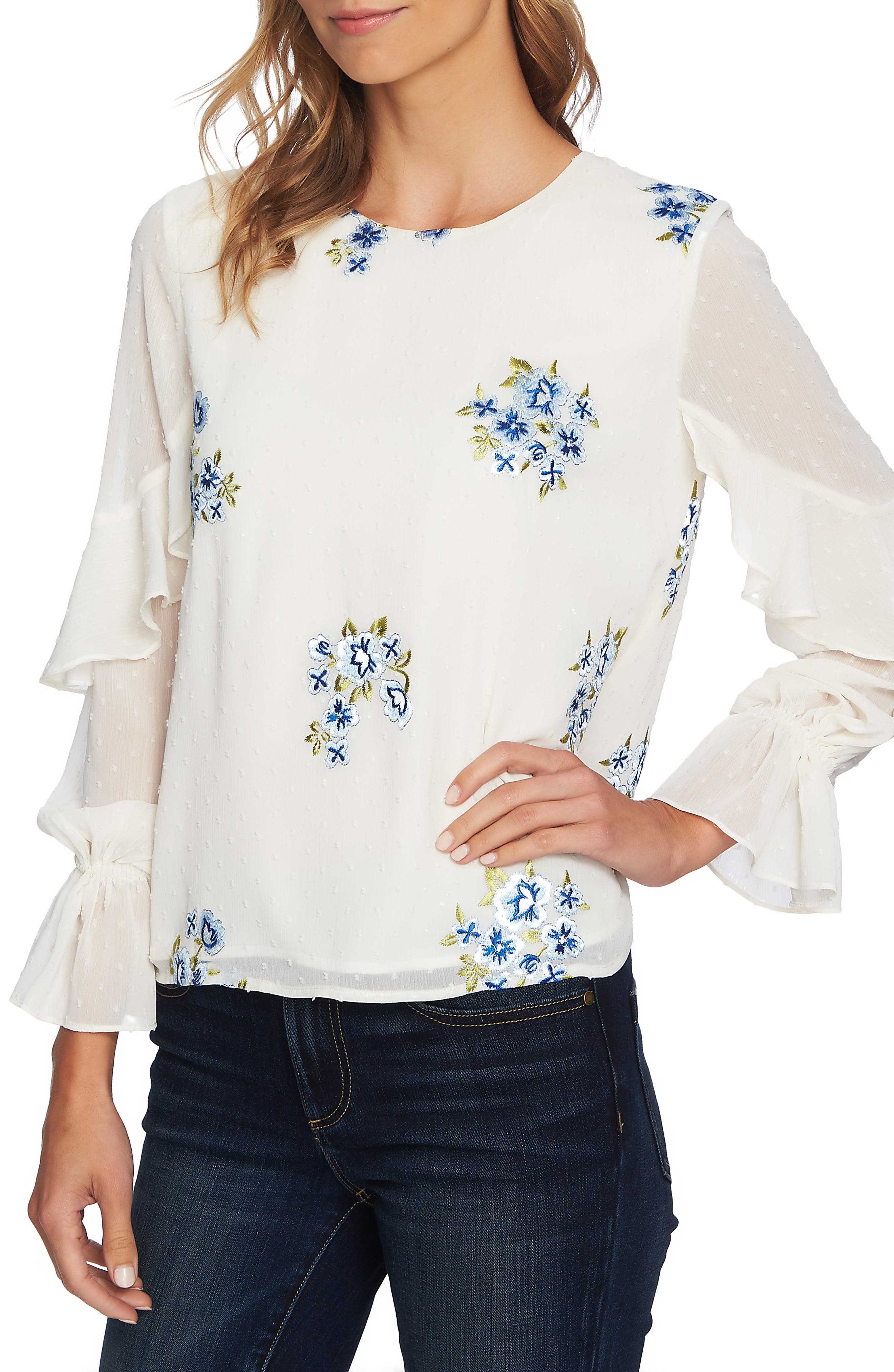 Embroidered Ruffle Top,                             Main thumbnail 1, color,                             ANTIQUE WHITE