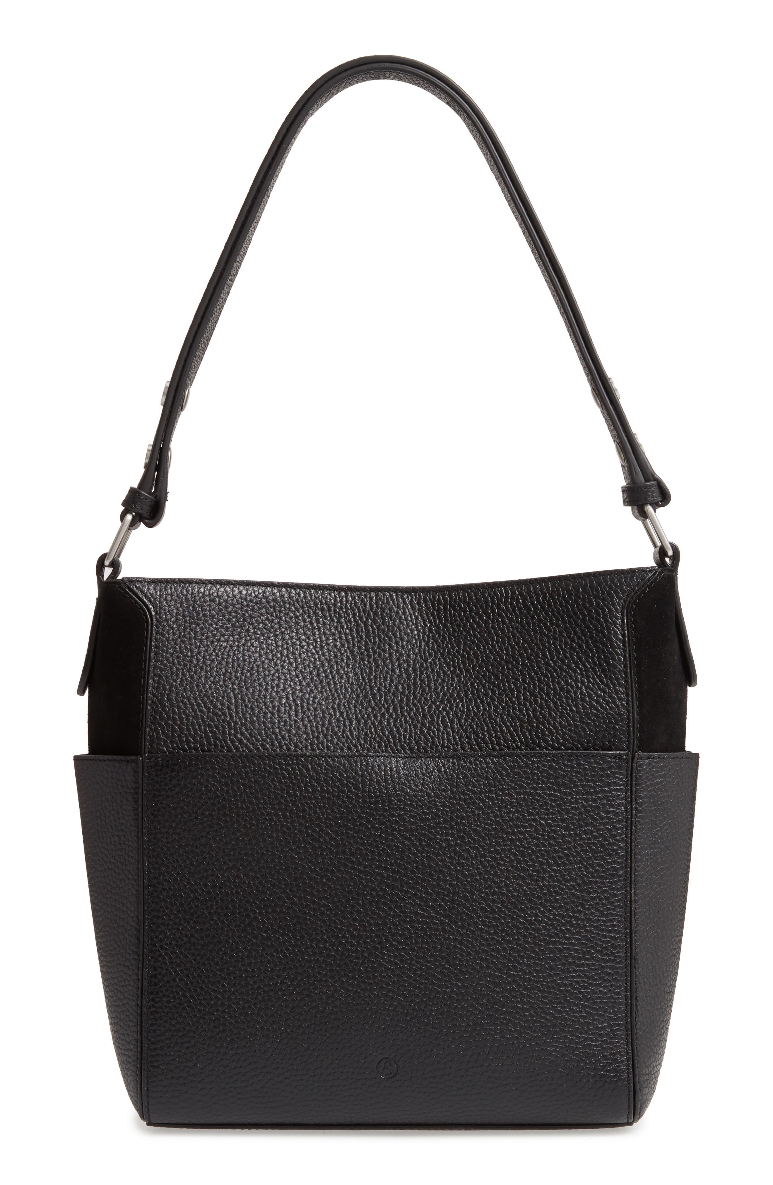 TREASURE & BOND,                             Campbell Leather & Suede Bucket Bag,                             Alternate thumbnail 3, color,                             BLACK
