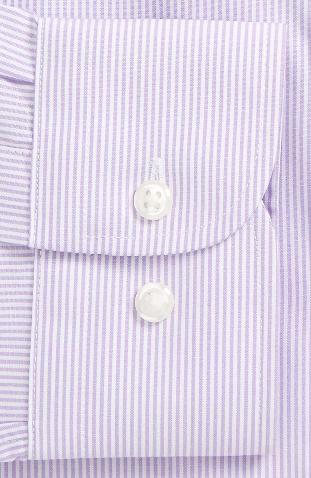 Trim Fit Non-Iron Stripe Dress Shirt,                             Alternate thumbnail 34, color,