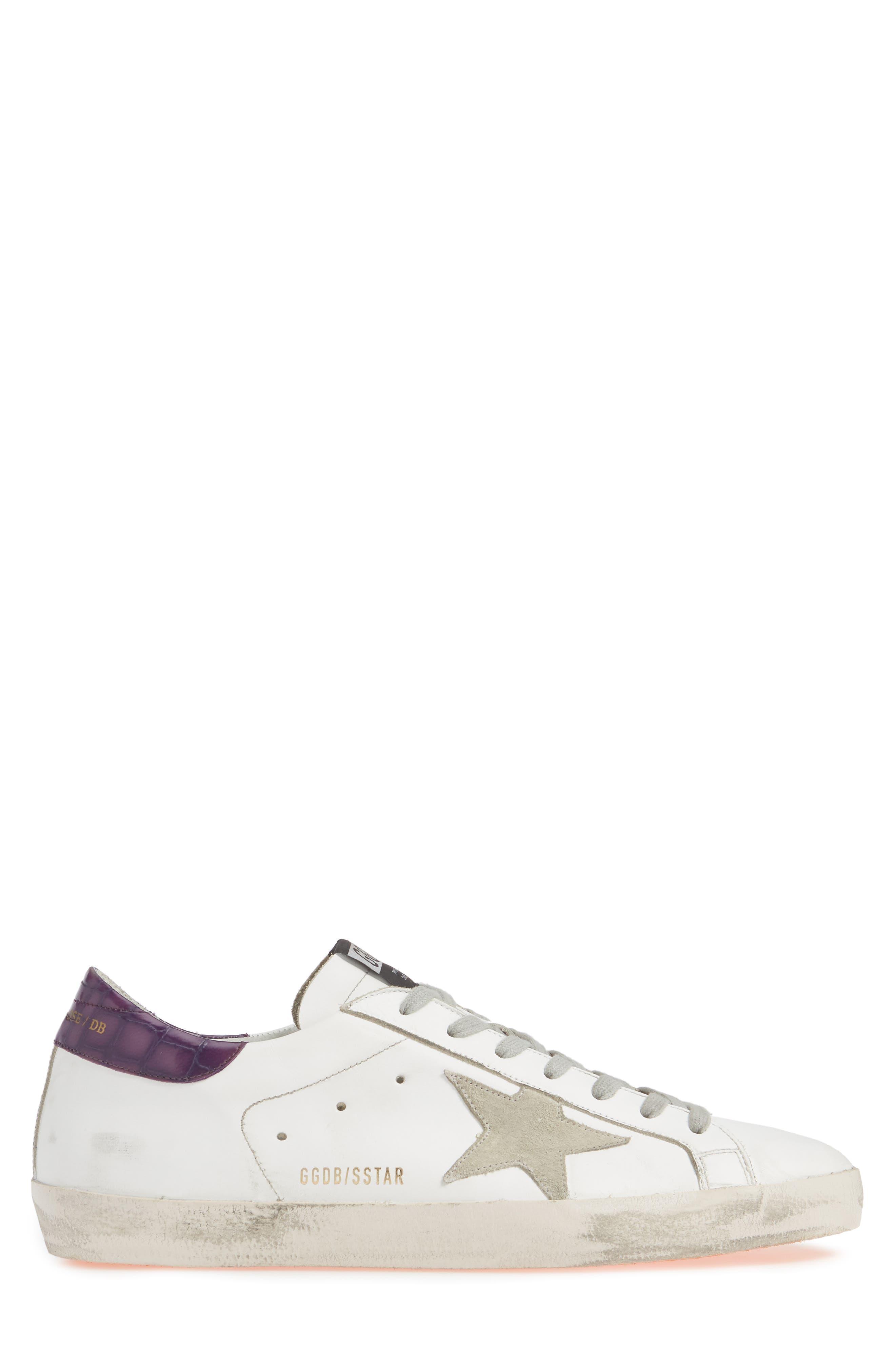 GOLDEN GOOSE,                             'Superstar' Sneaker,                             Alternate thumbnail 3, color,                             WHITE/ VIOLET