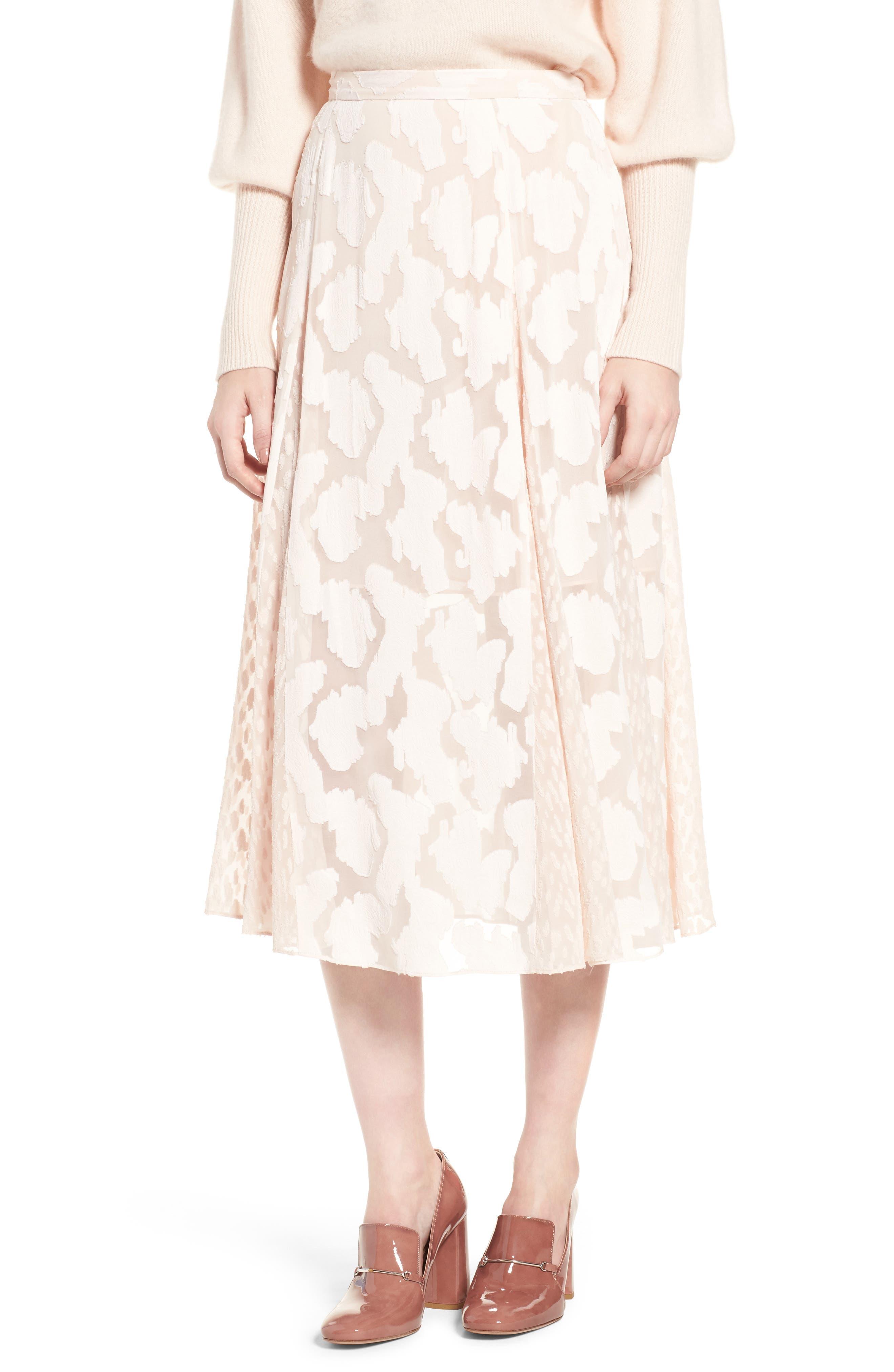 Clip Jacquard Godet Skirt,                             Main thumbnail 2, color,