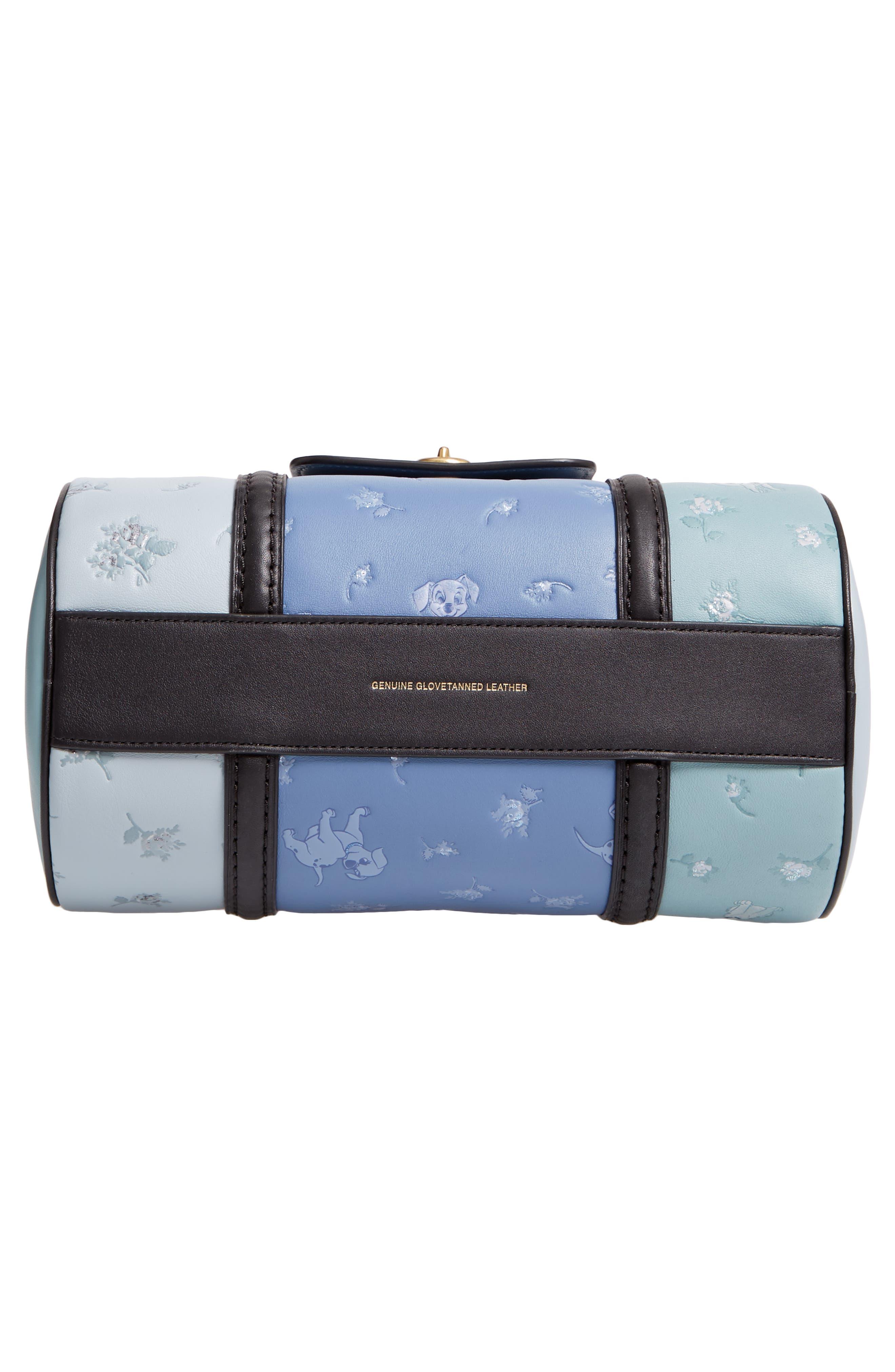 Disney x COACH 101 Dalmatians Leather Barrel Bag,                             Alternate thumbnail 6, color,                             402