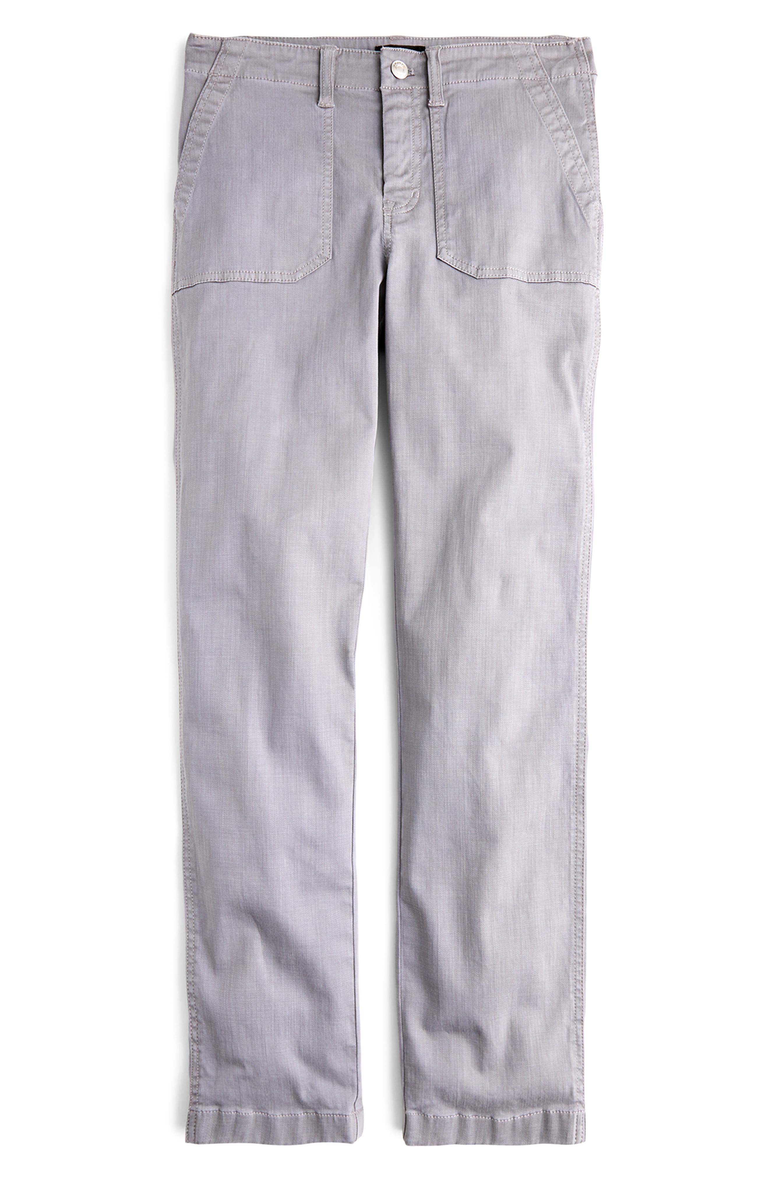 J.crew Slub Sateen Straight Leg Cargo Pants, 3 - Grey