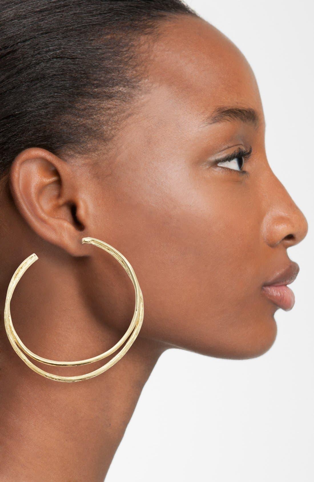 Split Hoop Earrings,                             Alternate thumbnail 2, color,                             GOLD