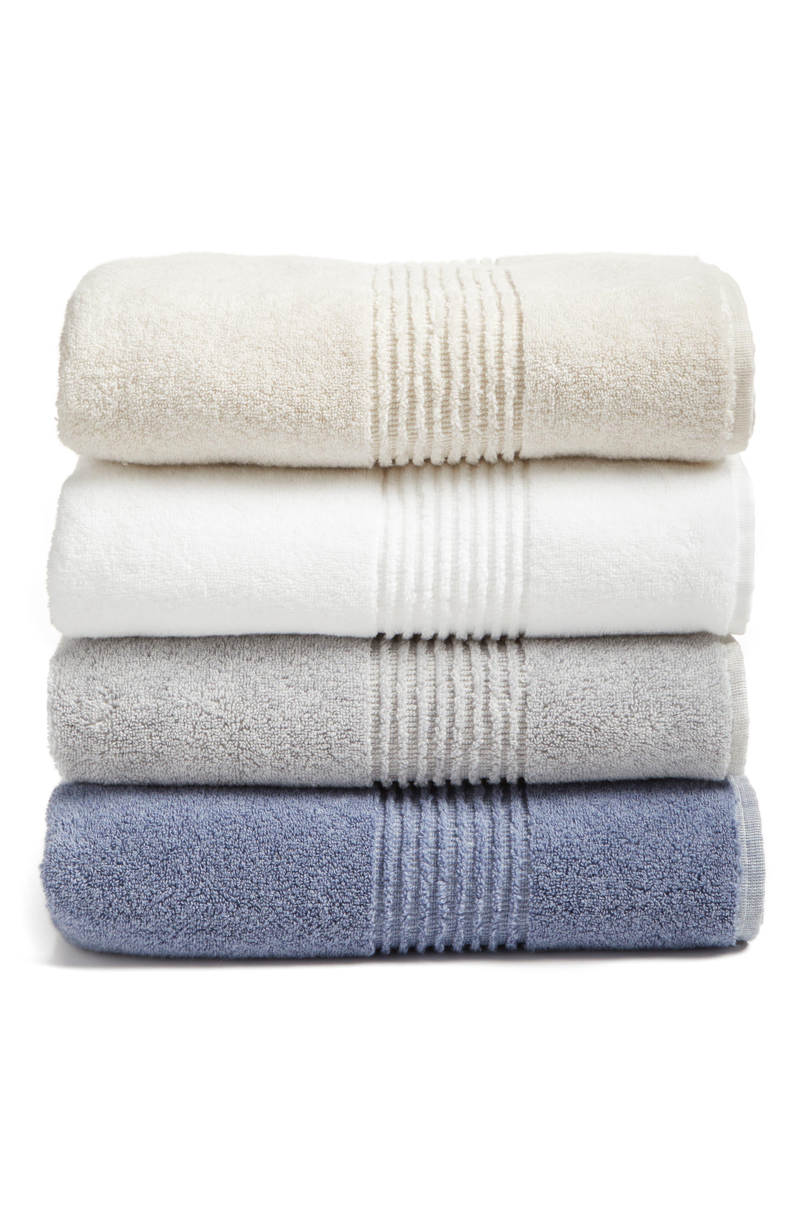 Organic Hydrocotton Heathered Bath Towel,                             Alternate thumbnail 2, color,                             WHITE