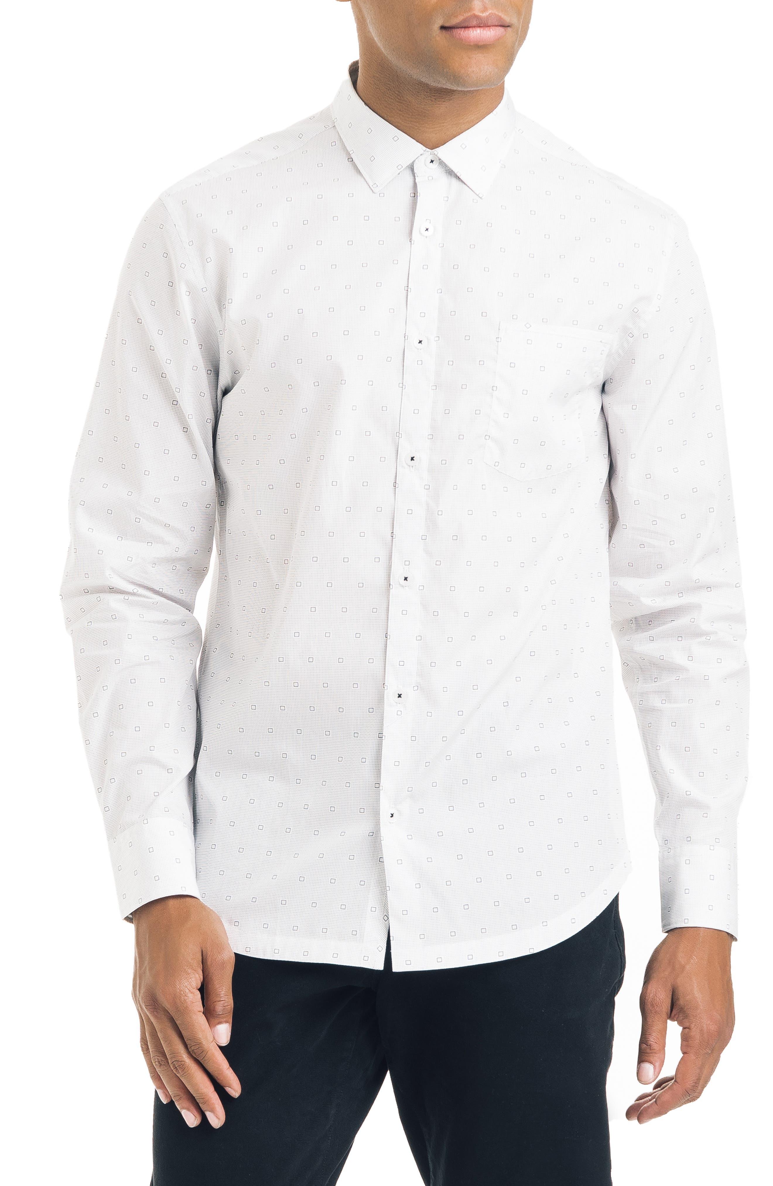 Slim Fit Geometric Sport Shirt,                             Main thumbnail 1, color,                             WHITE