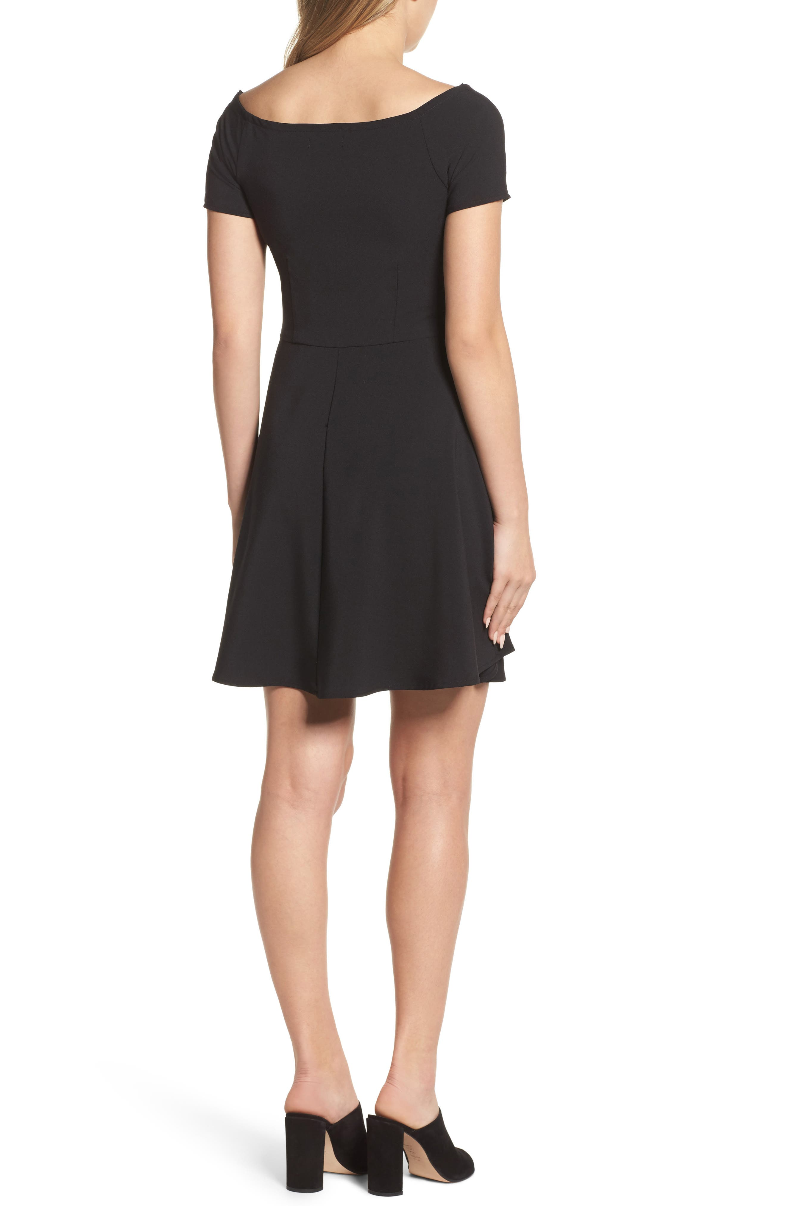 Tie Front Crepe Fit & Flare Dress,                             Alternate thumbnail 2, color,                             001