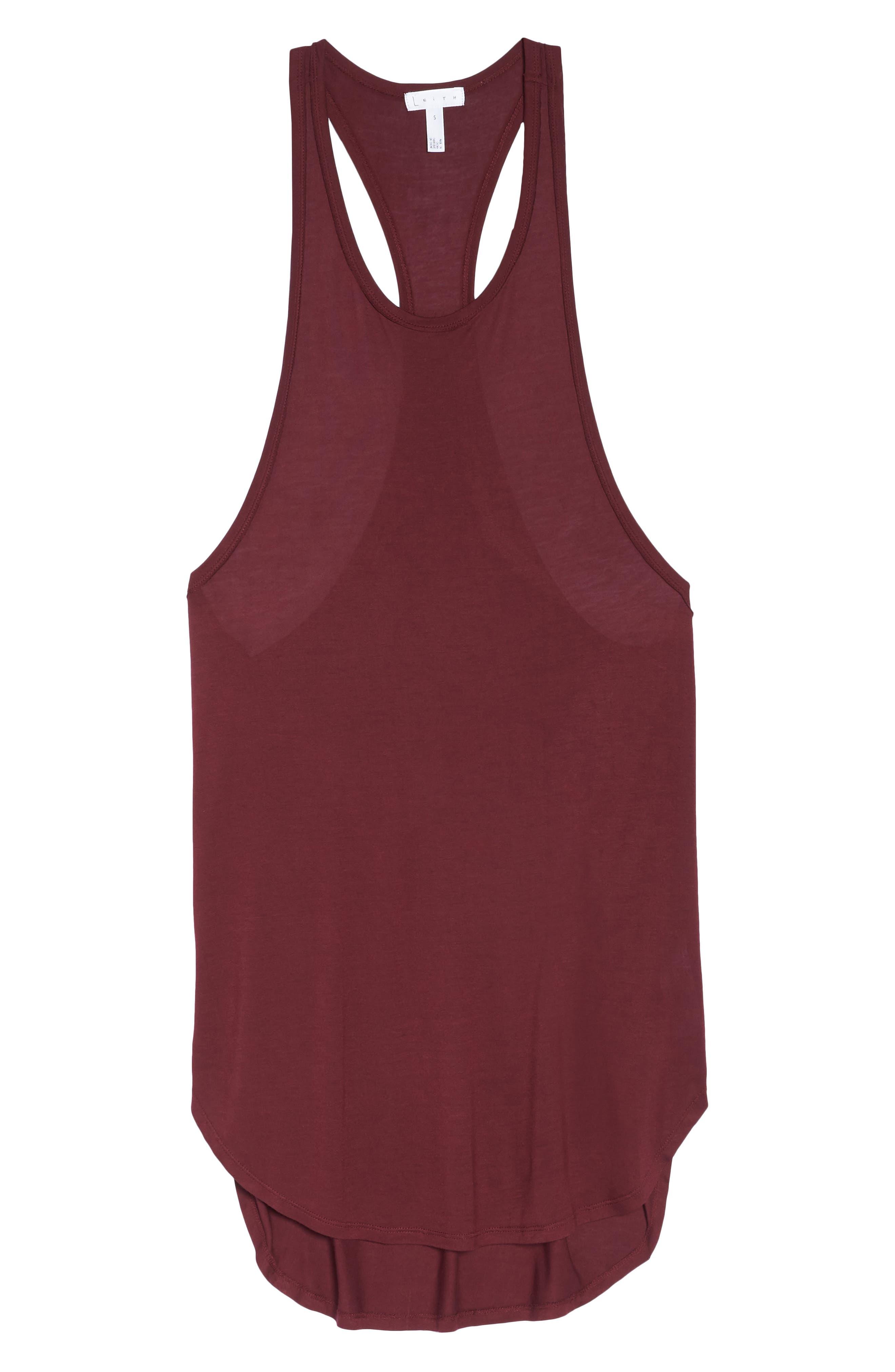 Racerback Cover-Up Tank Dress,                             Alternate thumbnail 6, color,                             BURGUNDY FIELD