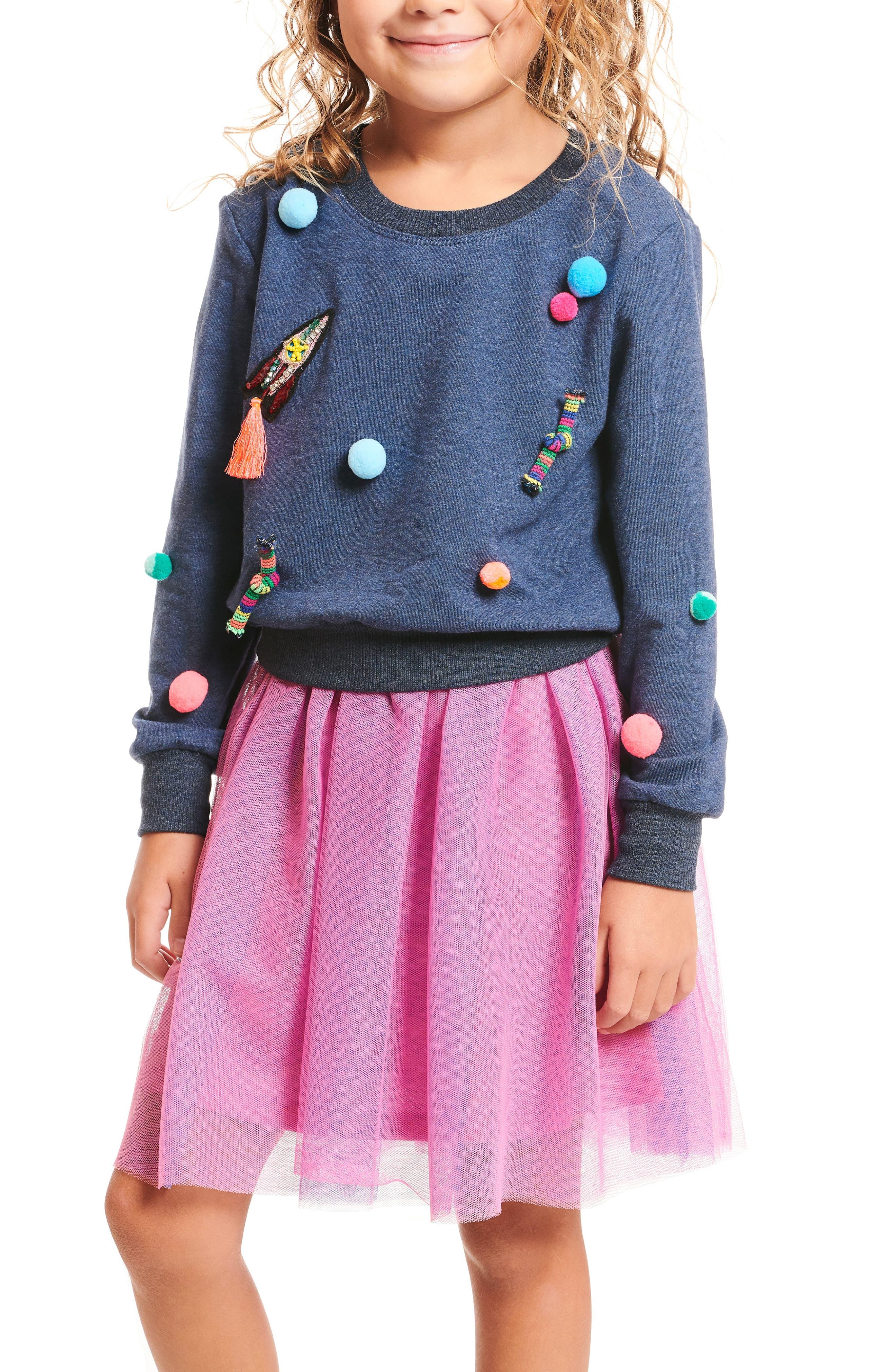 Appliqué Top & Tutu Dress Set,                         Main,                         color, NAVY-PINK