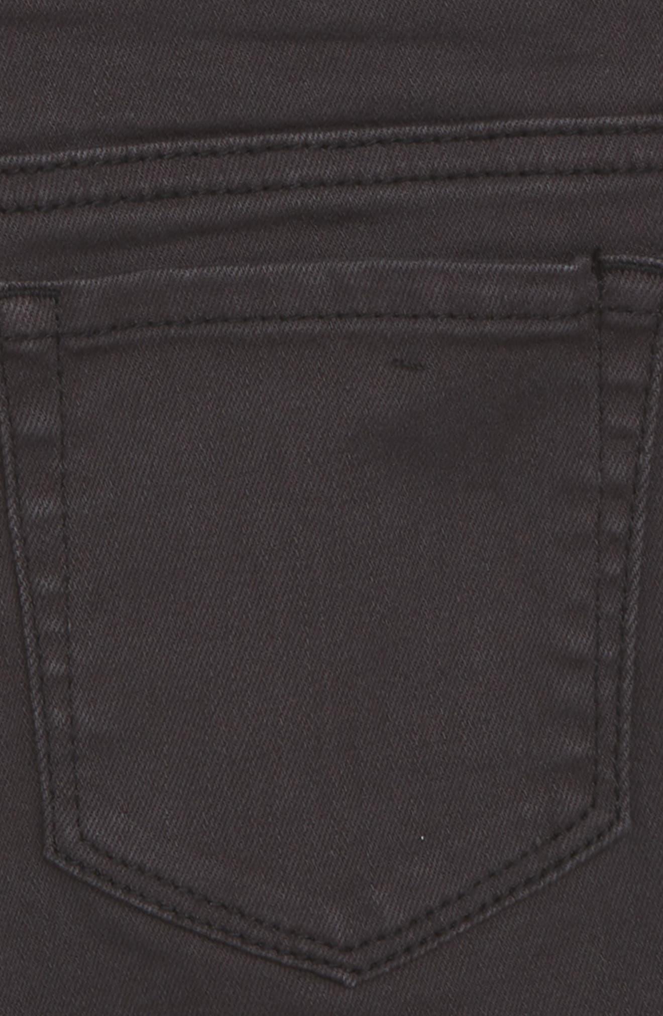 Distressed Cutoff Denim Shorts,                             Alternate thumbnail 3, color,                             BLACK