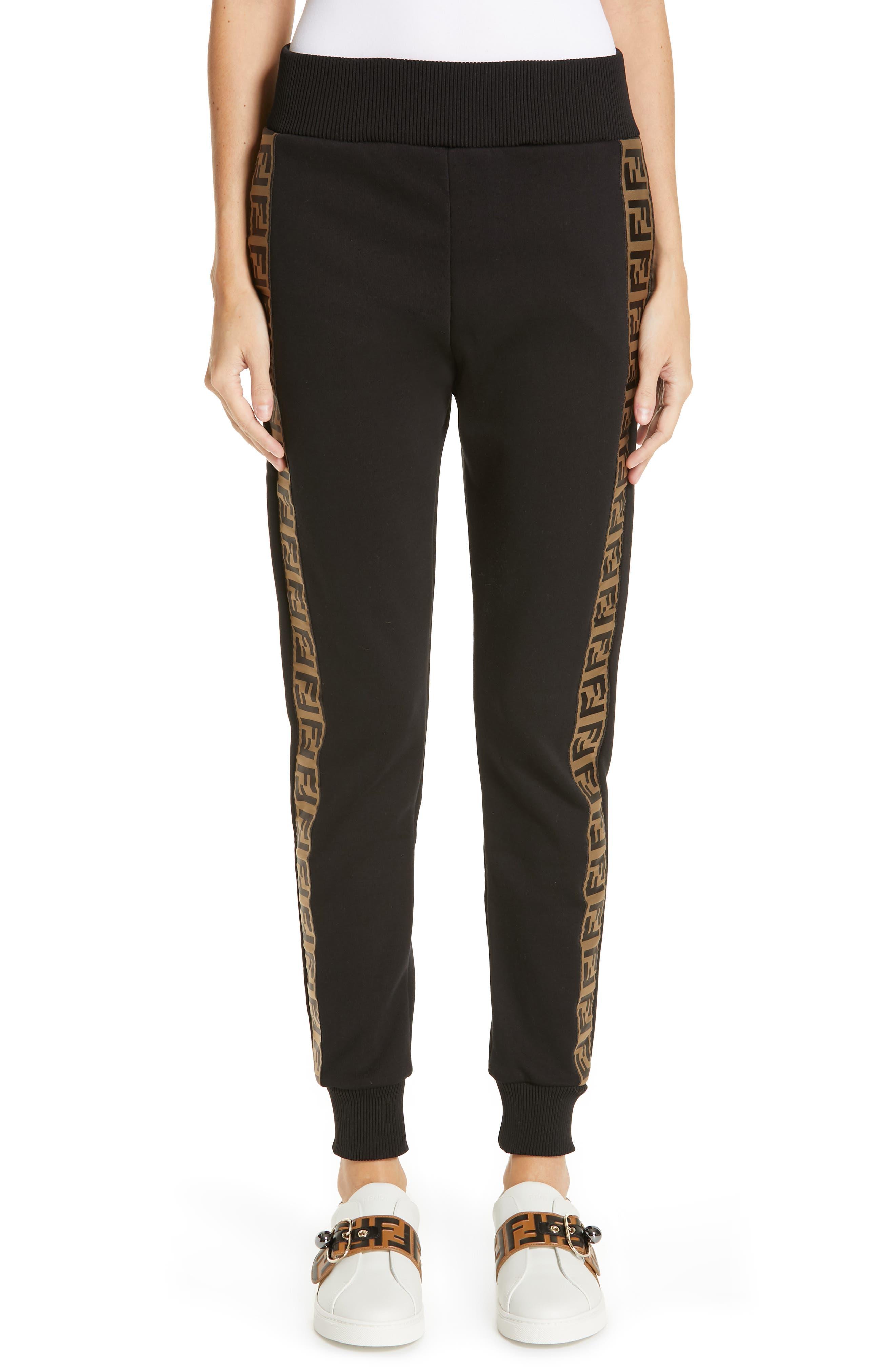 FENDI x FILA Mania Logo Jersey Track Pants, Main, color, BLACK