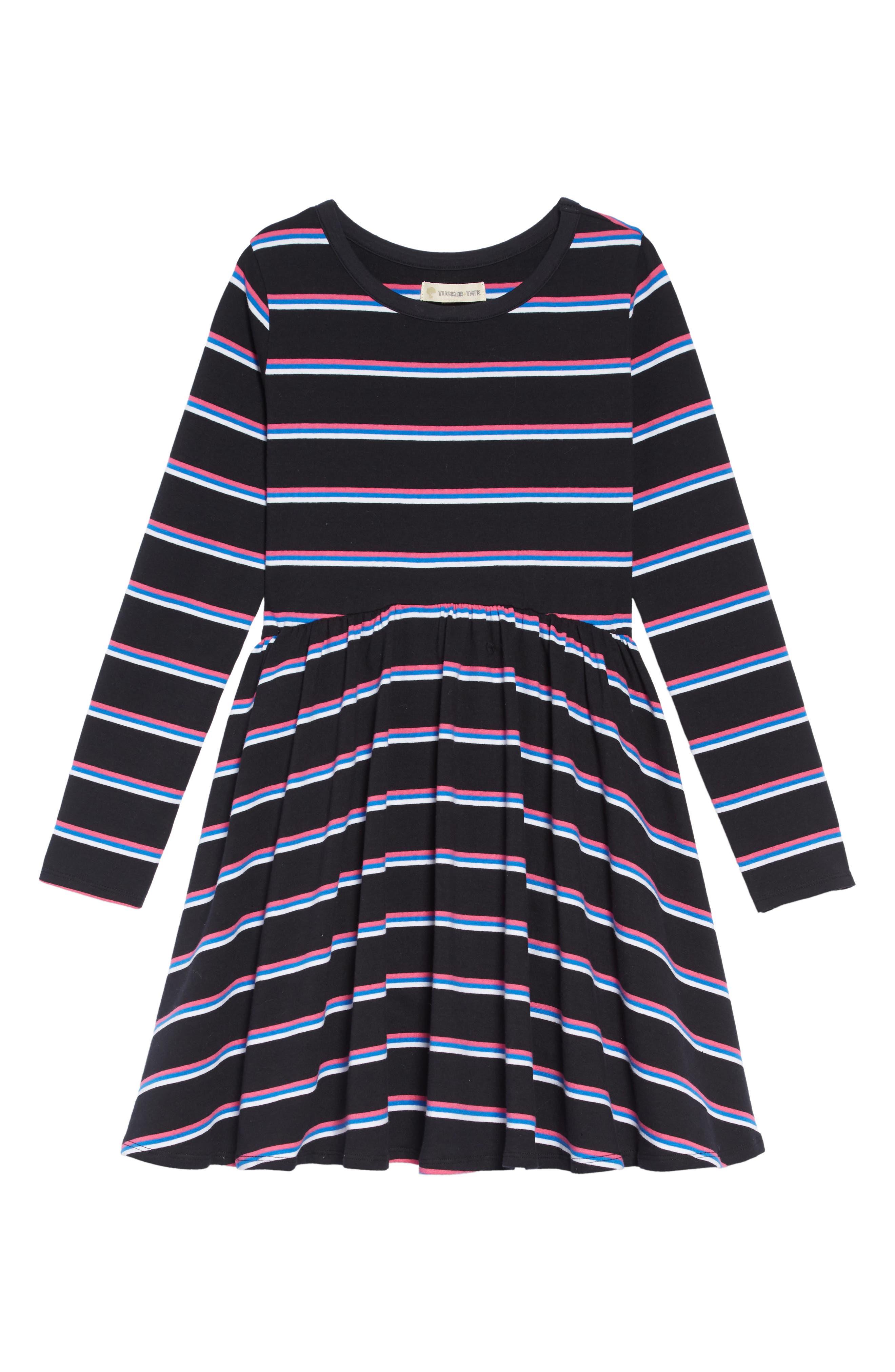 Easy Stripe Dress,                         Main,                         color, BLACK MULTI STRIPE