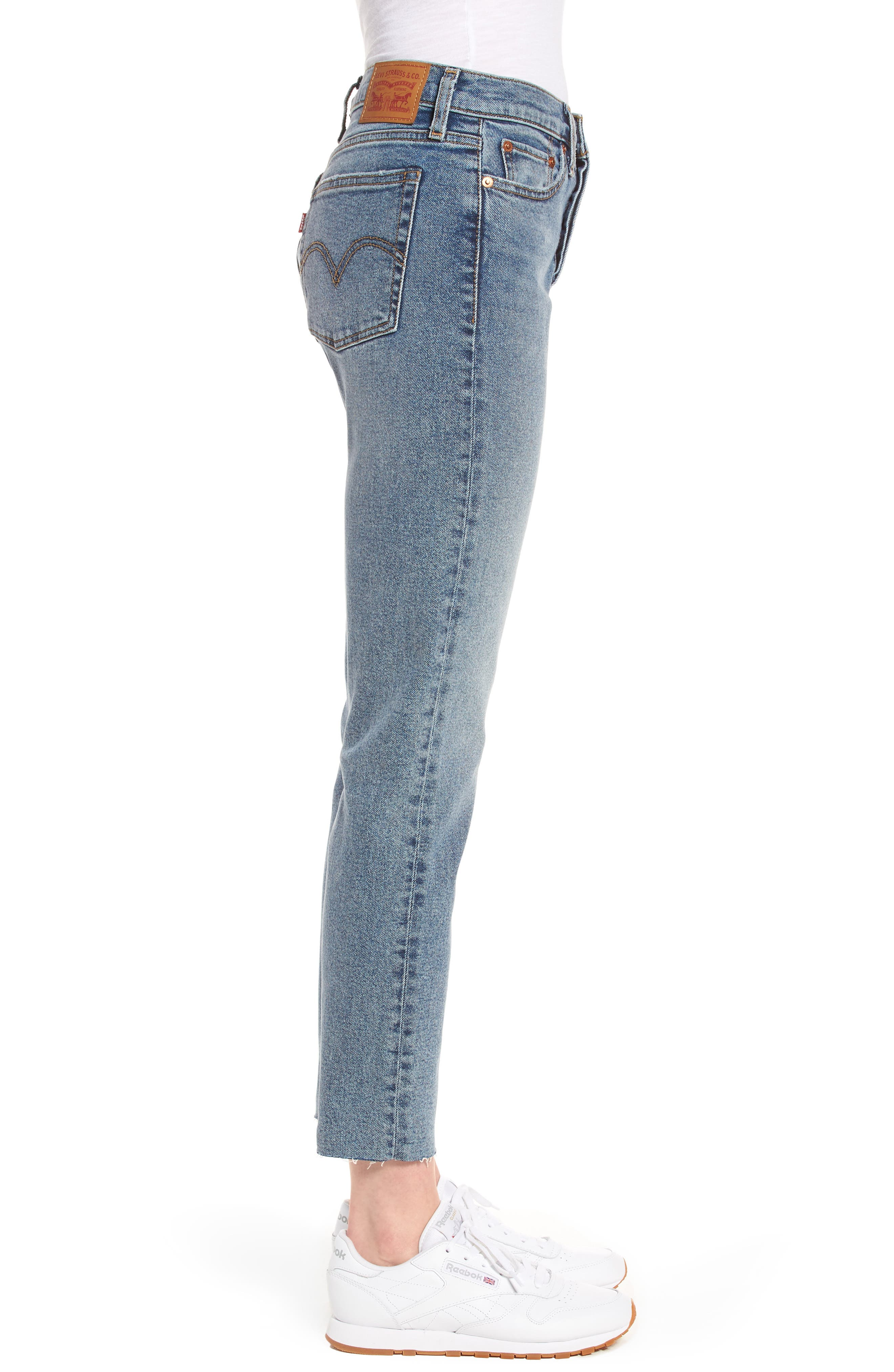 Wedgie Icon Fit High Waist Crop Jeans,                             Alternate thumbnail 3, color,                             401