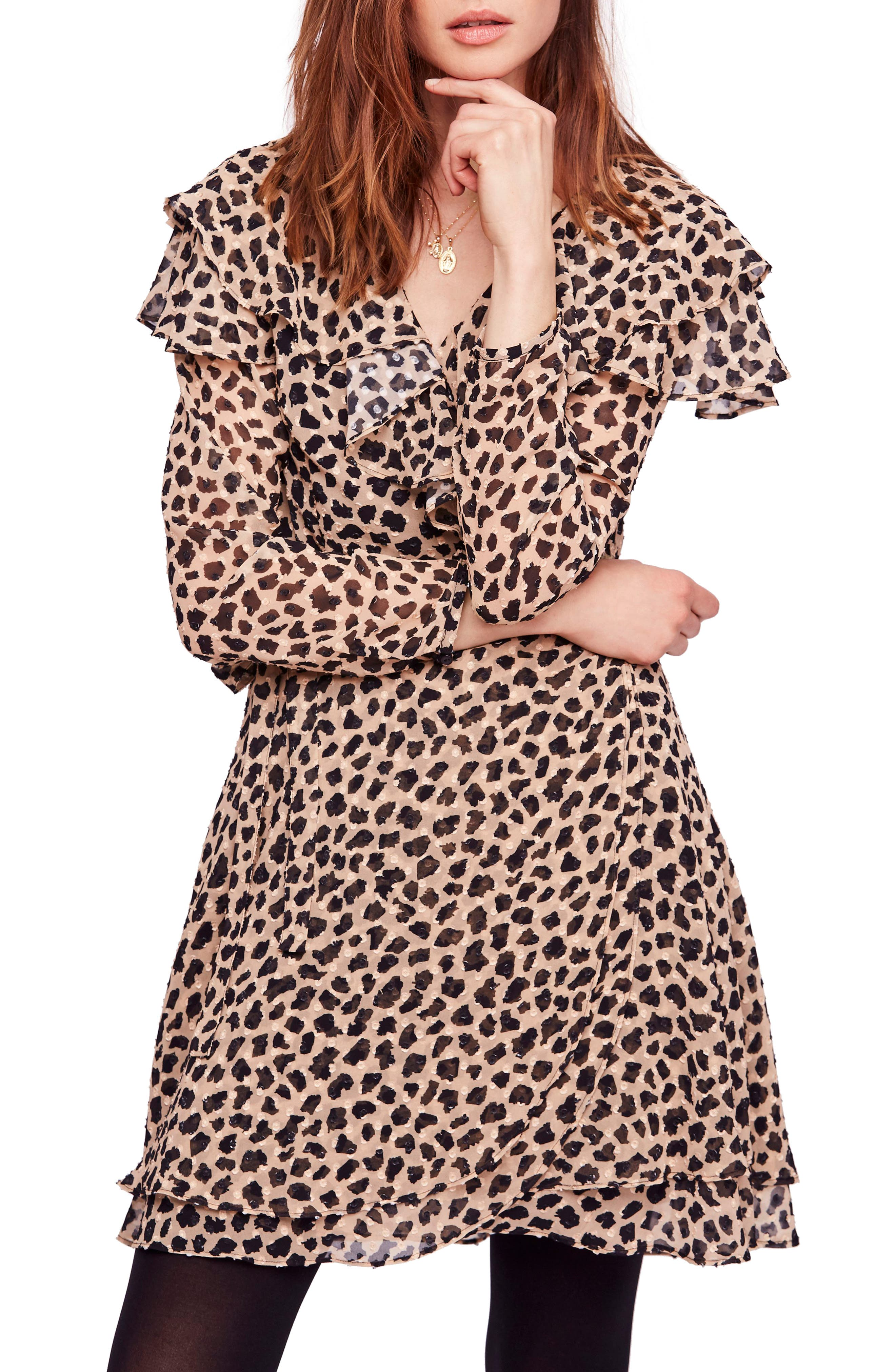 Frenchie Printed Mini Wrap Dress in Cocoa