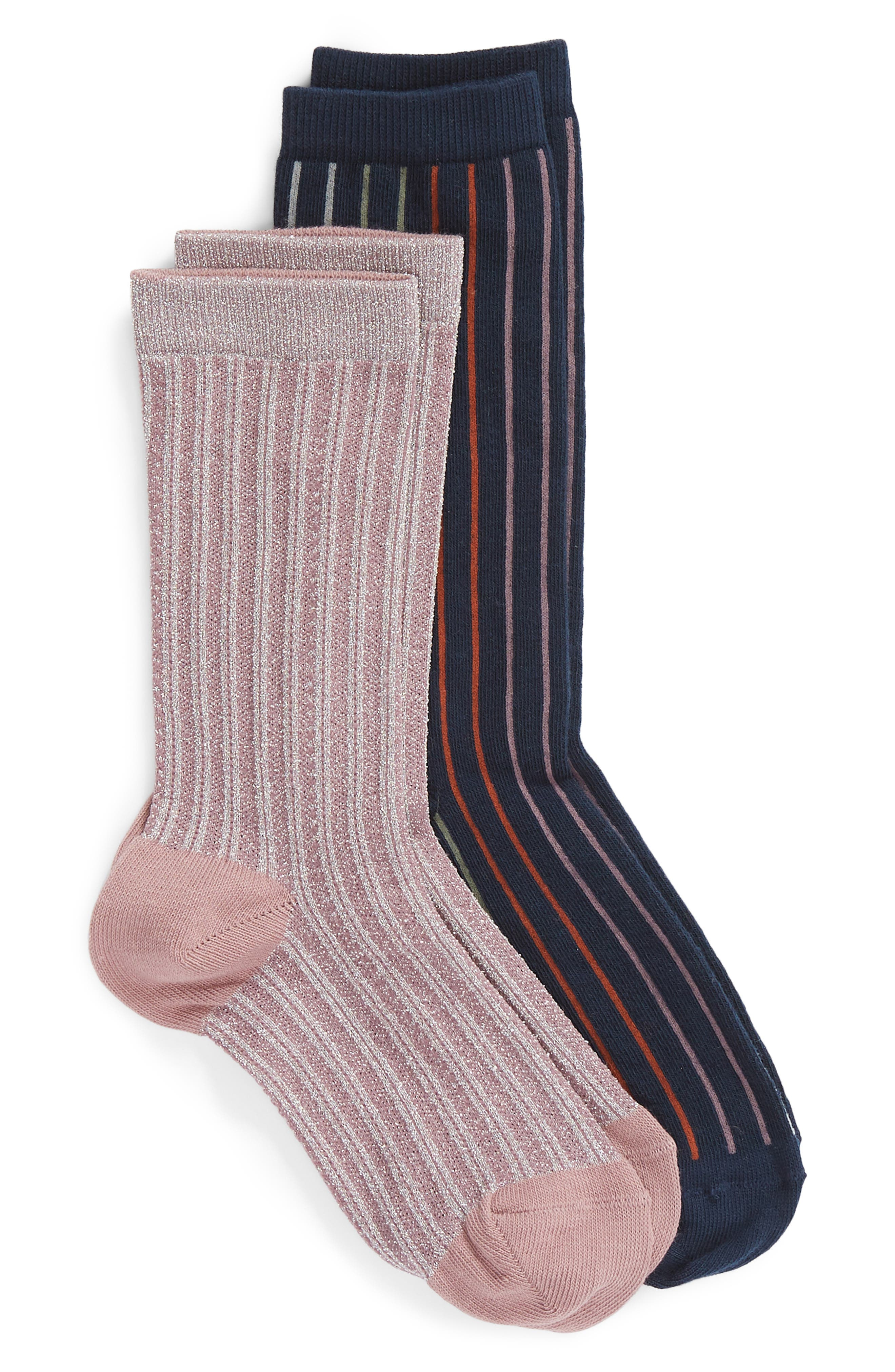 2-Pack Vertical Stripe Crew Socks,                             Main thumbnail 1, color,                             NAVY MARITIME MULTI
