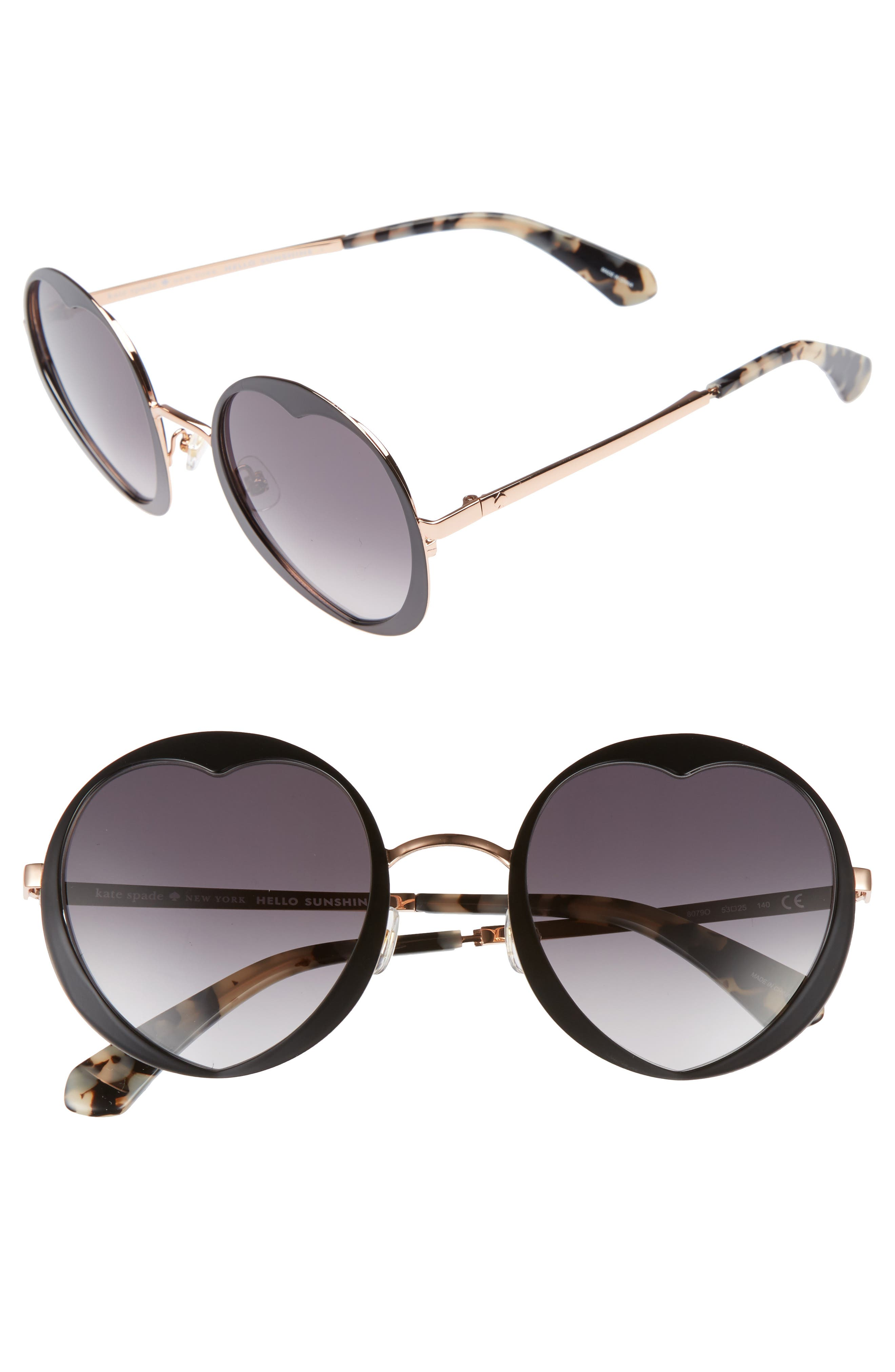 rosaria 53mm heart cutout lens sunglasses,                         Main,                         color, 001
