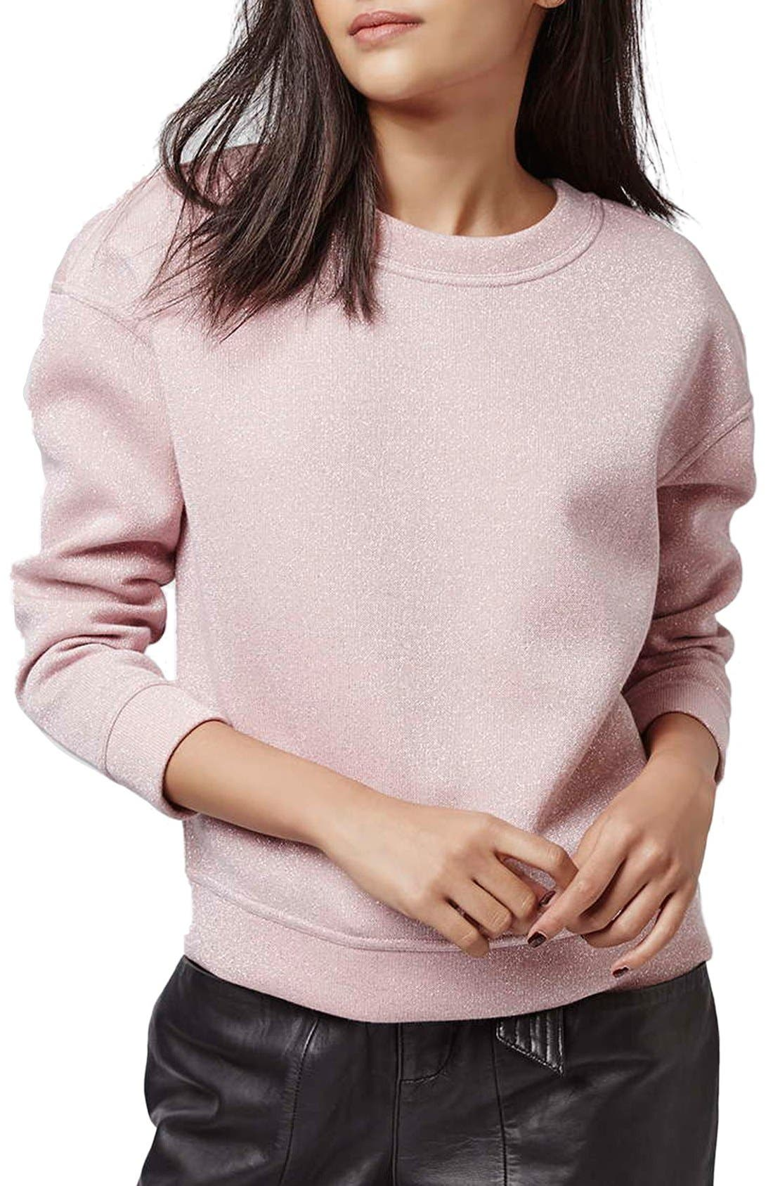 TOPSHOP Glitter Sweatshirt, Main, color, 650