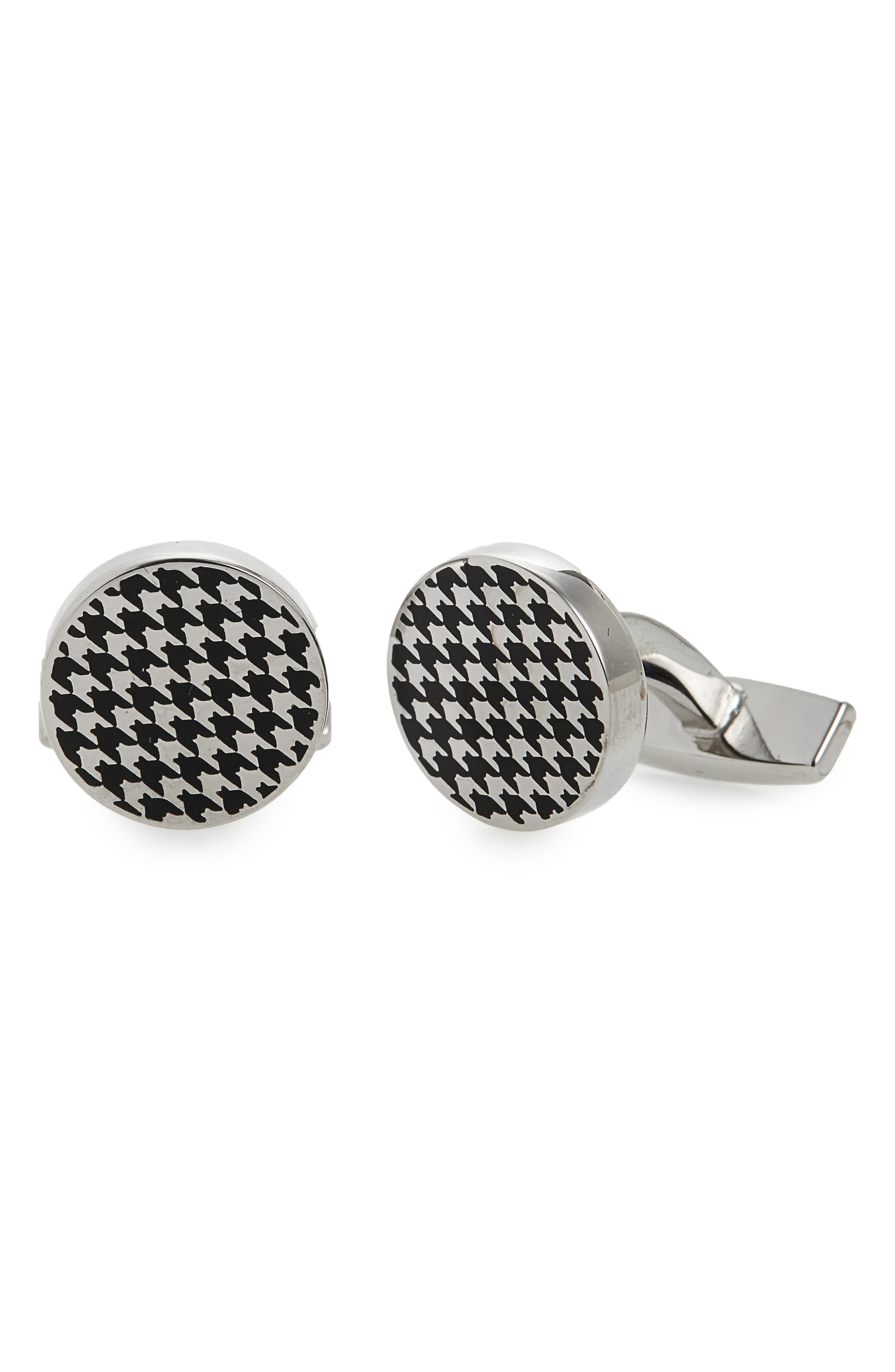 Enamel Houndstooth Cuff Links,                             Main thumbnail 1, color,                             001
