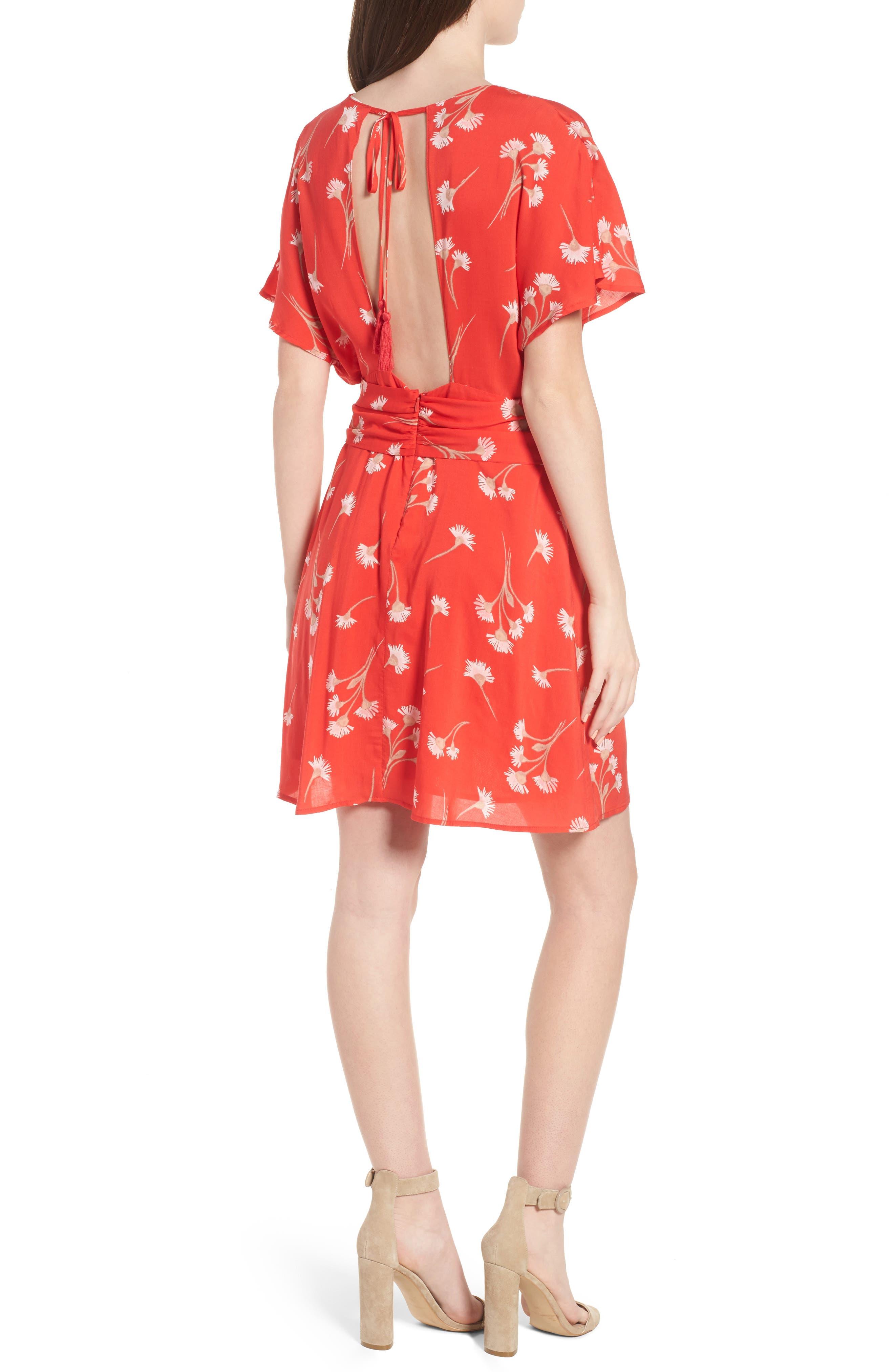 Floral Cutout Back Minidress,                             Alternate thumbnail 2, color,                             601