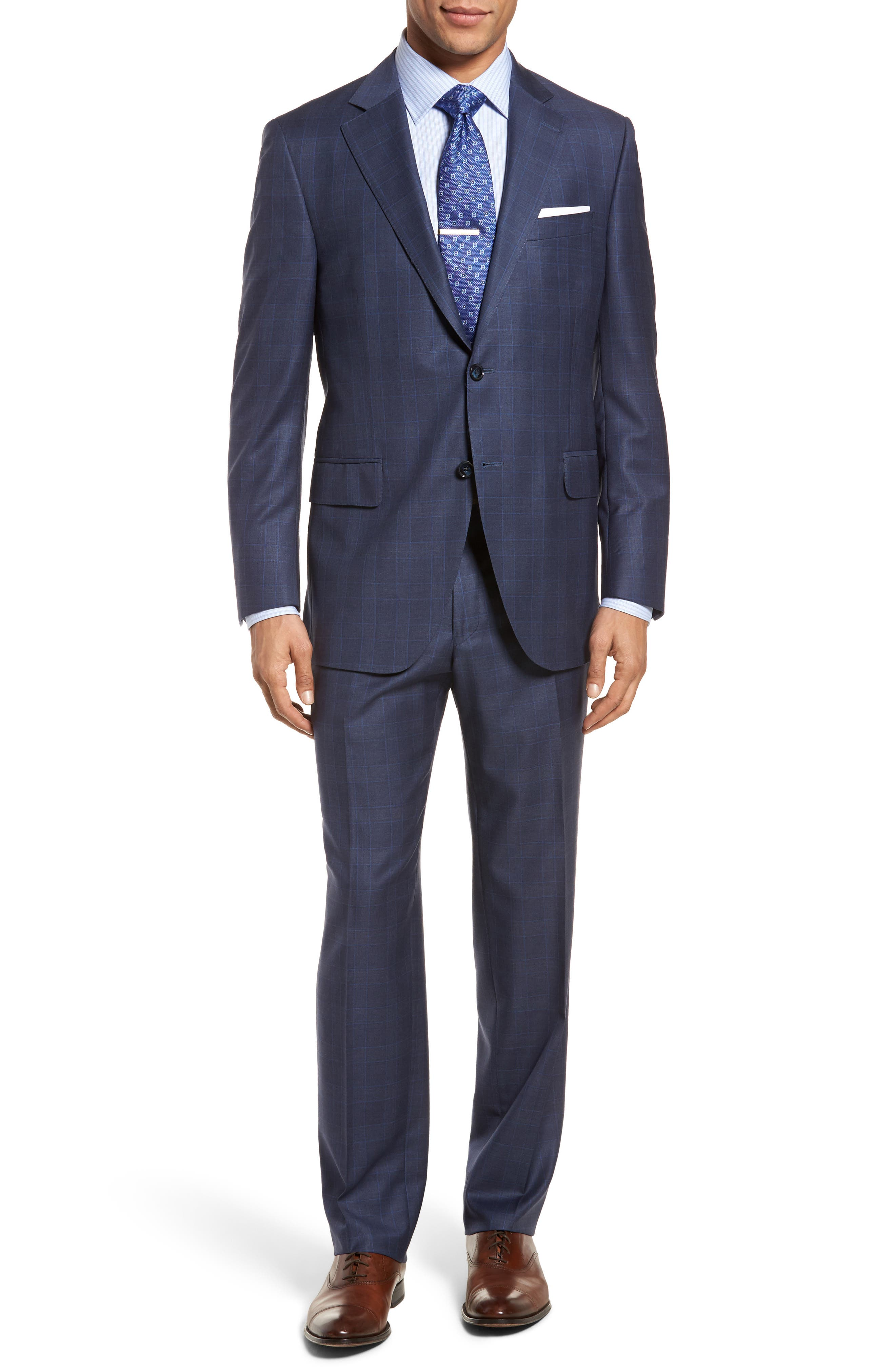 Classic Fit Windowpane Wool Suit,                             Main thumbnail 1, color,                             400