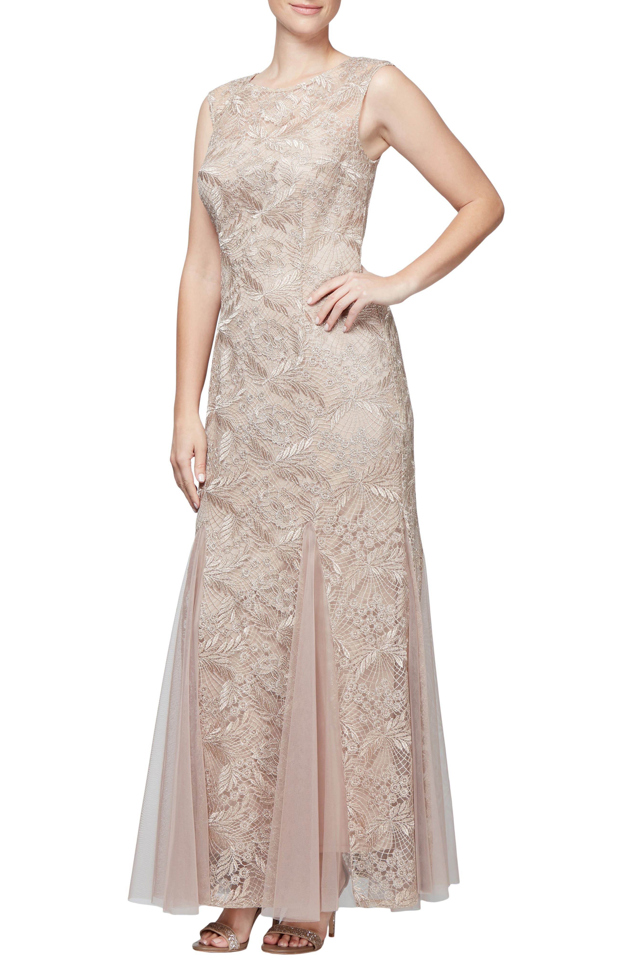 Alex Evenings Embroidered Lace Gown, Beige