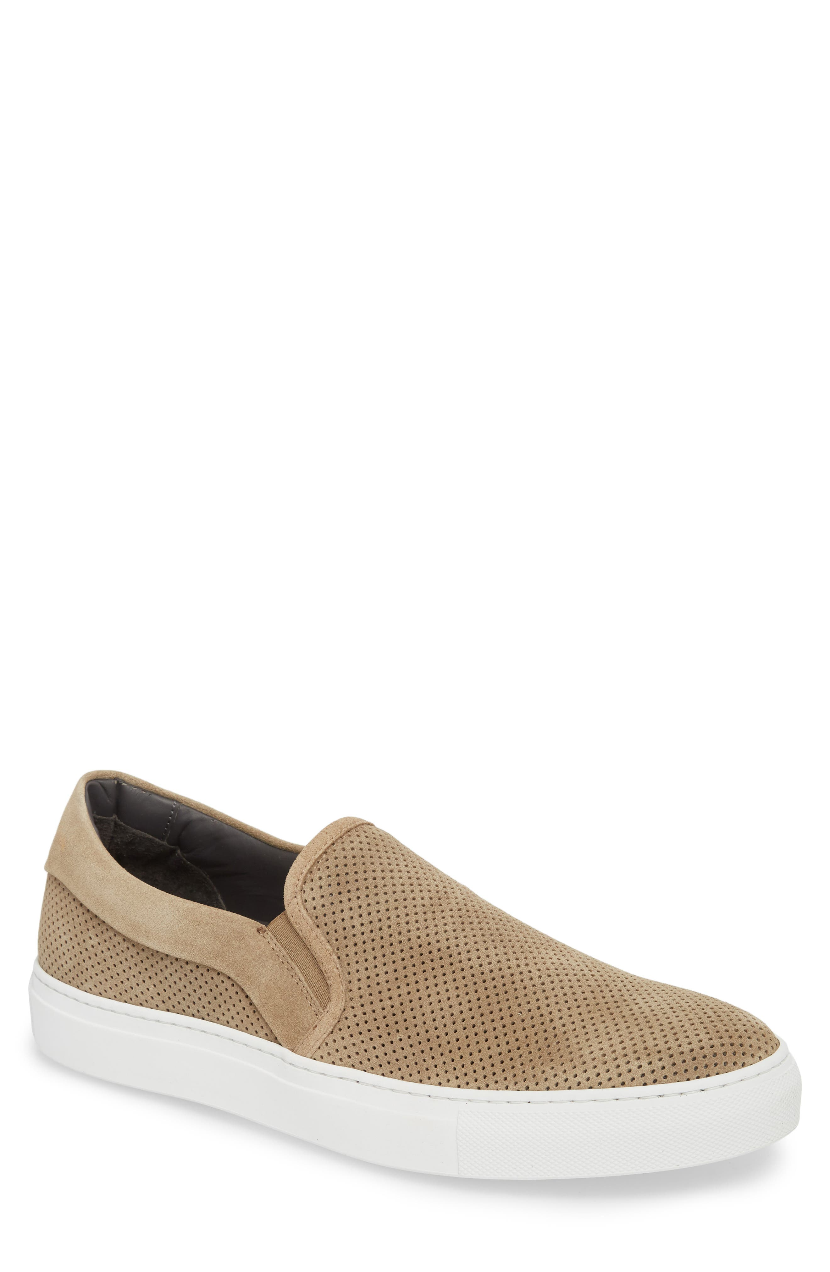 Buelton Perforated Slip-On Sneaker,                             Main thumbnail 1, color,                             BROWN SUEDE