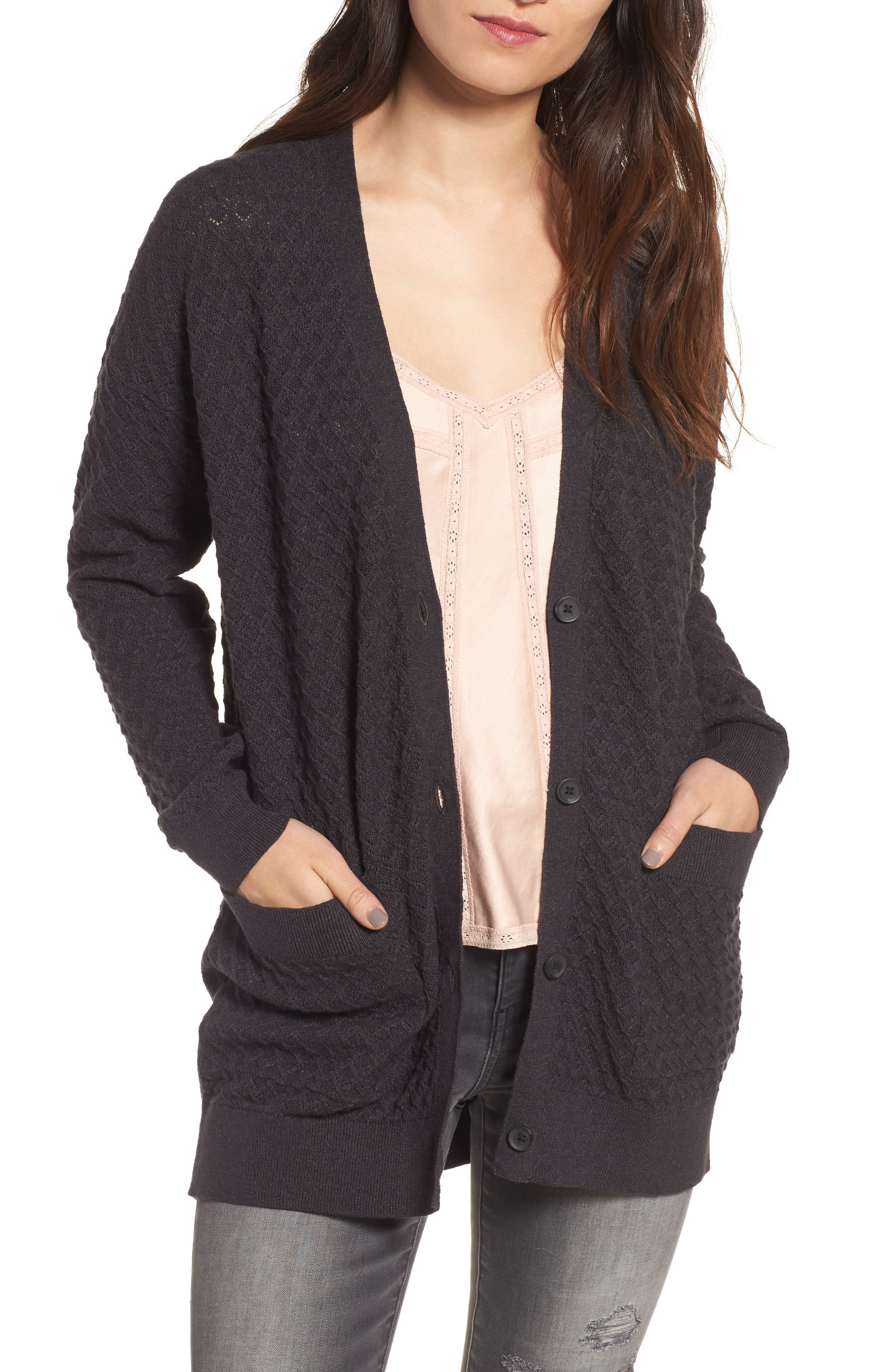 Pointelle Cardigan Sweater,                             Main thumbnail 1, color,