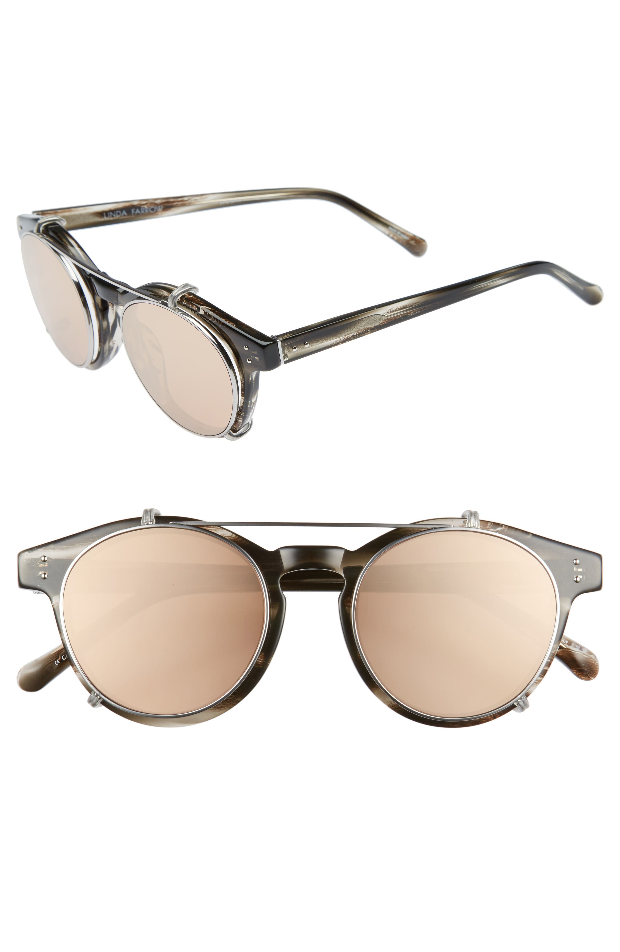 47mm Optical Glasses with Clip-On 18 Karat Rose Gold Trim Sunglasses,                         Main,                         color,