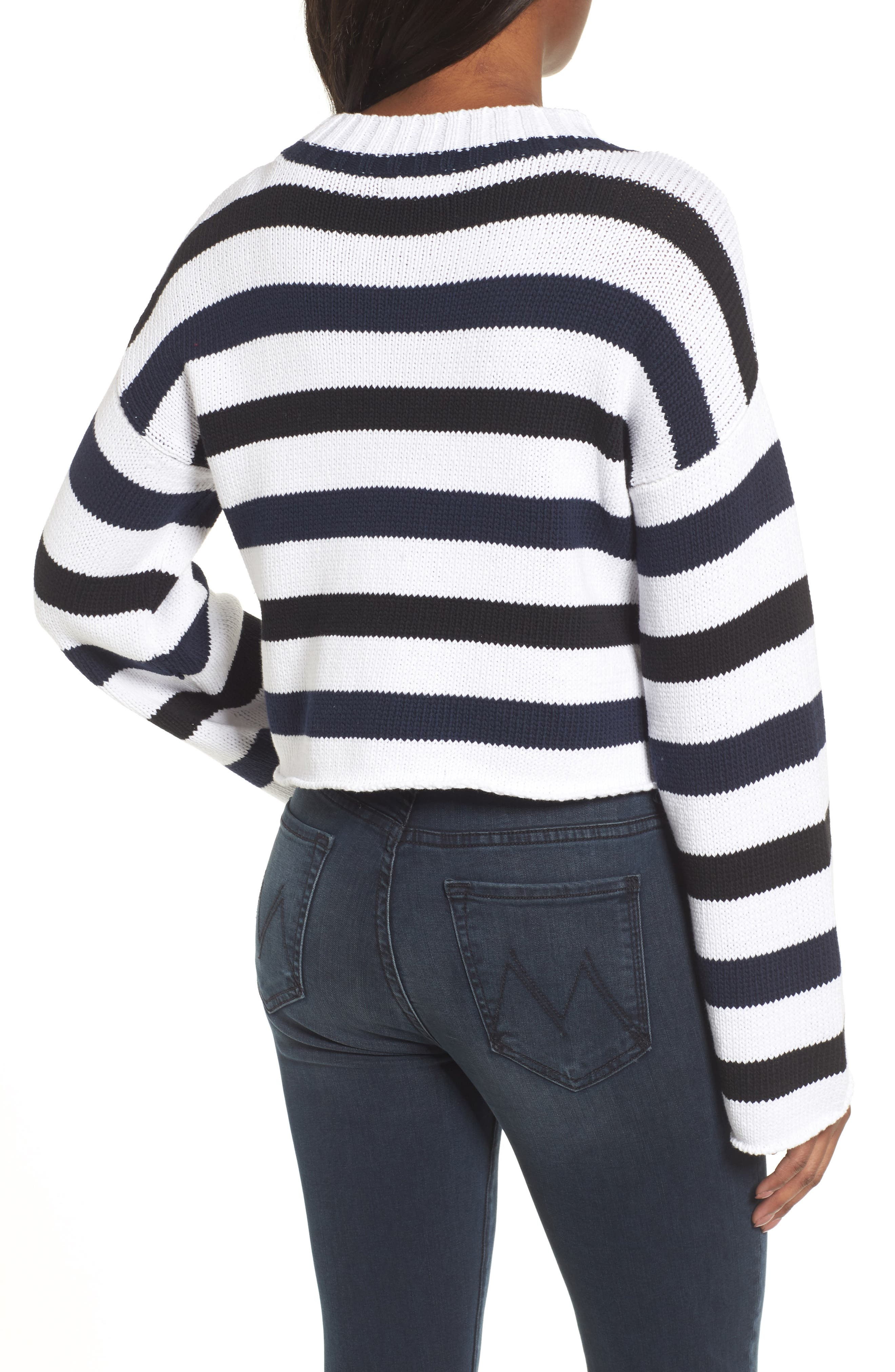Wide Stripe Crop Sweater,                             Alternate thumbnail 2, color,                             INDIGO-WHITE