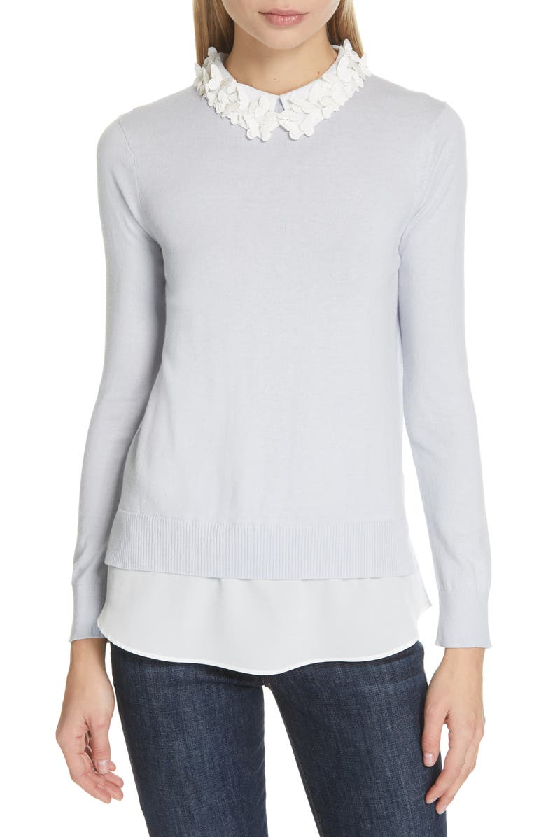 TED BAKER LONDON Natasha Butterfly Sweater, Main, color, PALE BLUE