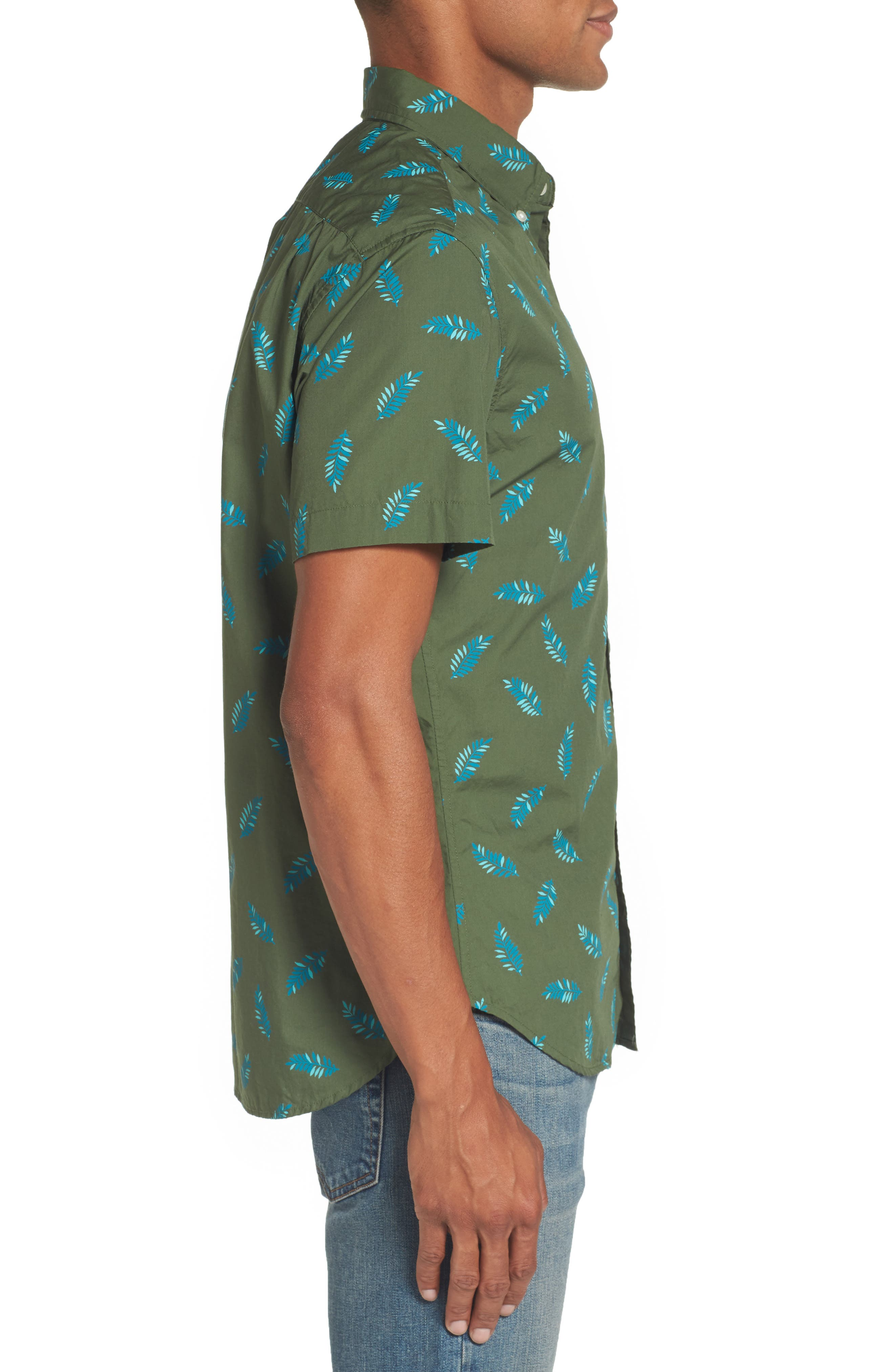 Riviera Fern Print Woven Shirt,                             Alternate thumbnail 3, color,                             300