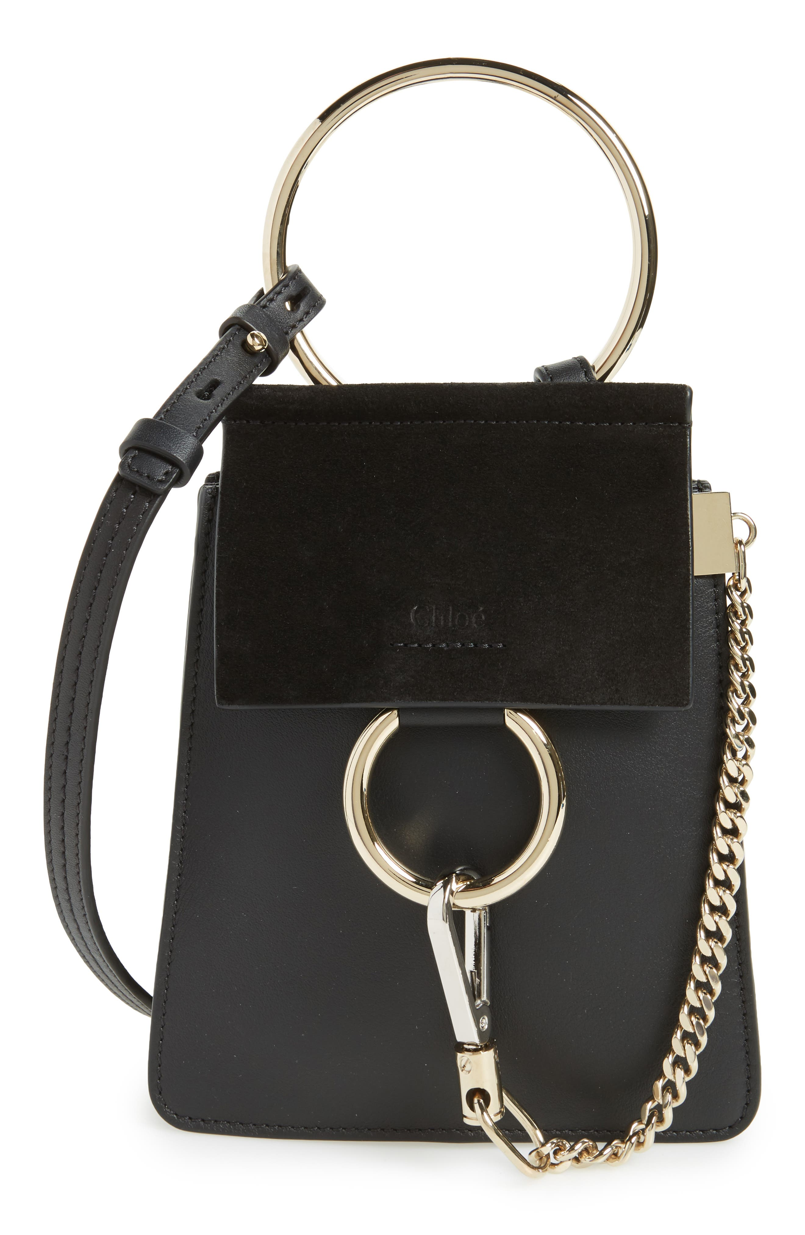 Faye Small Suede & Leather Bracelet Bag,                             Main thumbnail 1, color,                             BLACK
