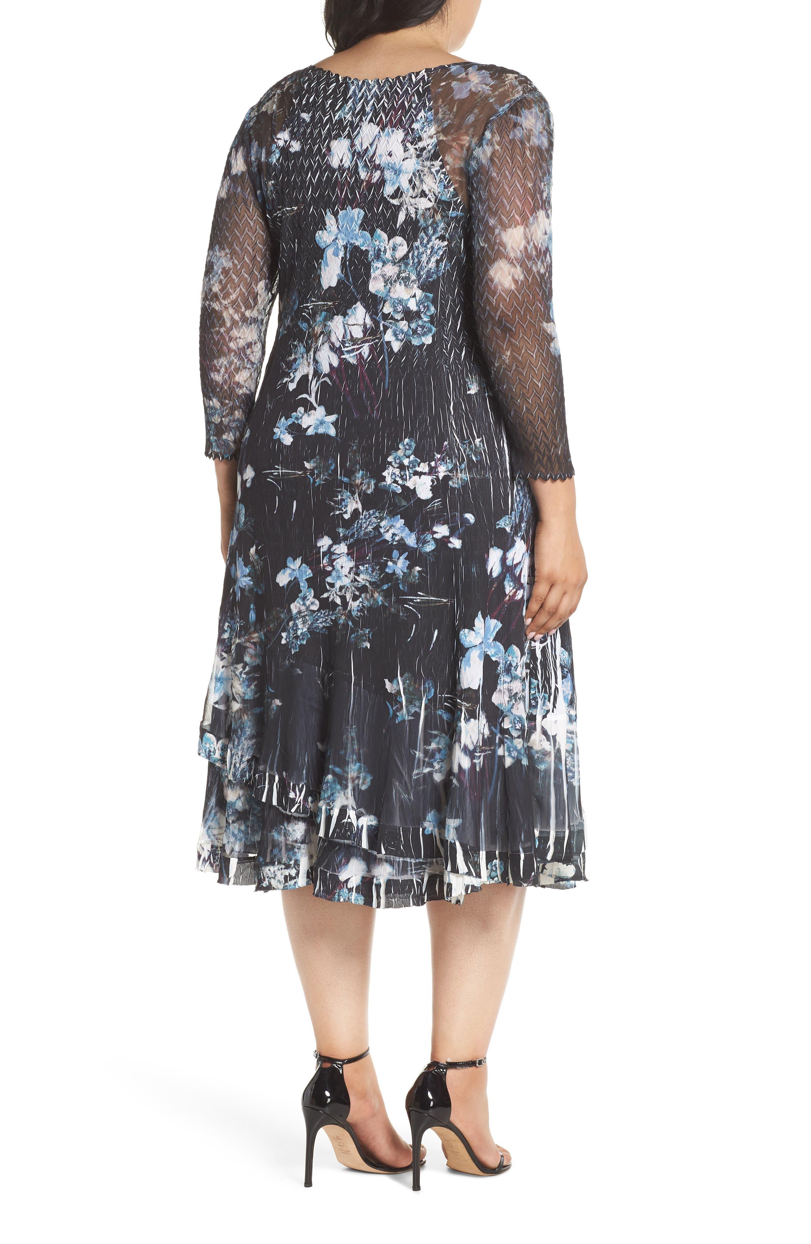 Floral Georgette & Chiffon A-Line Dress,                             Alternate thumbnail 2, color,                             002