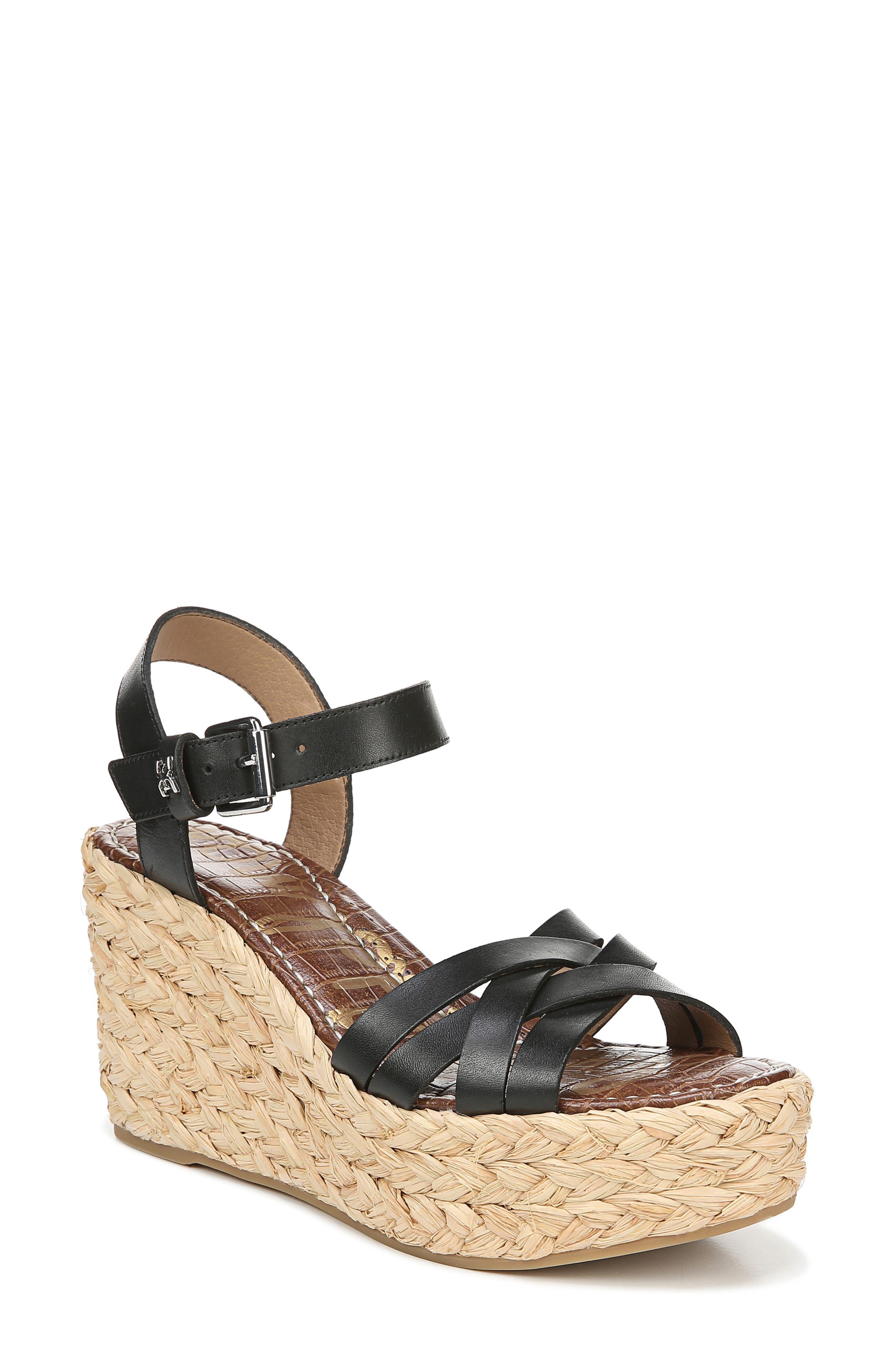 SAM EDELMAN,                             Darline Platform Wedge Sandal,                             Main thumbnail 1, color,                             BLACK LEATHER