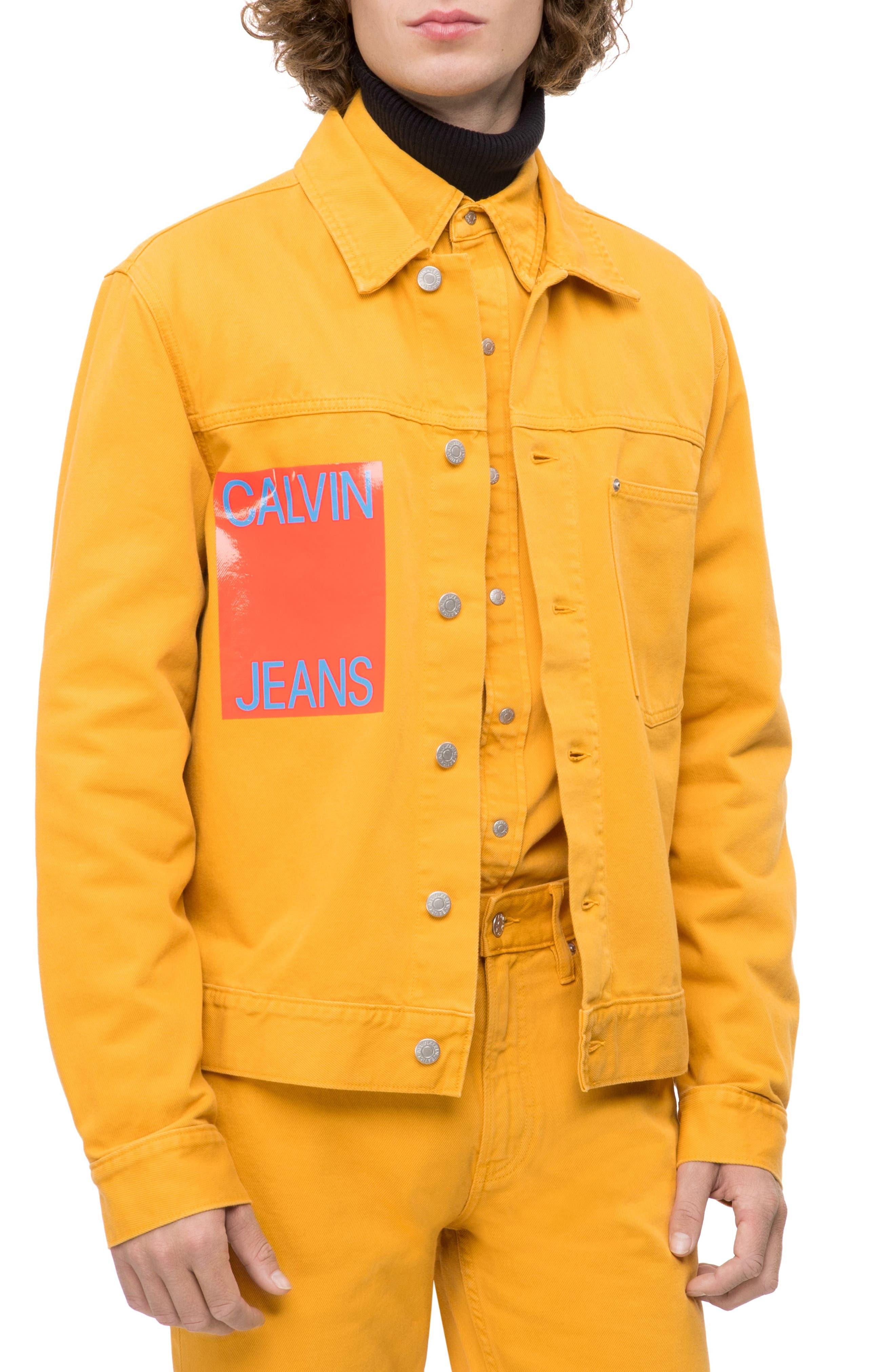 Denim Trucker Jacket,                             Main thumbnail 1, color,                             AUTUMN BLAZE