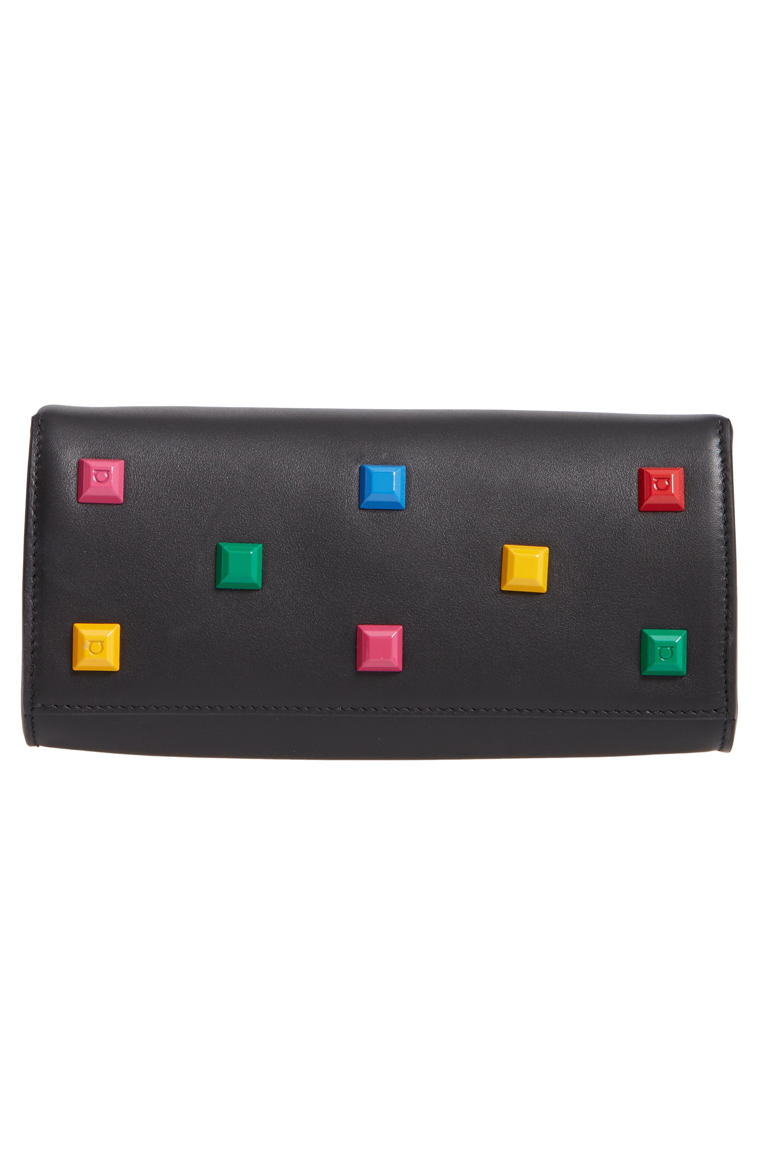 The Mini Studio Leather Tote,                             Alternate thumbnail 6, color,                             BLACK MULTI