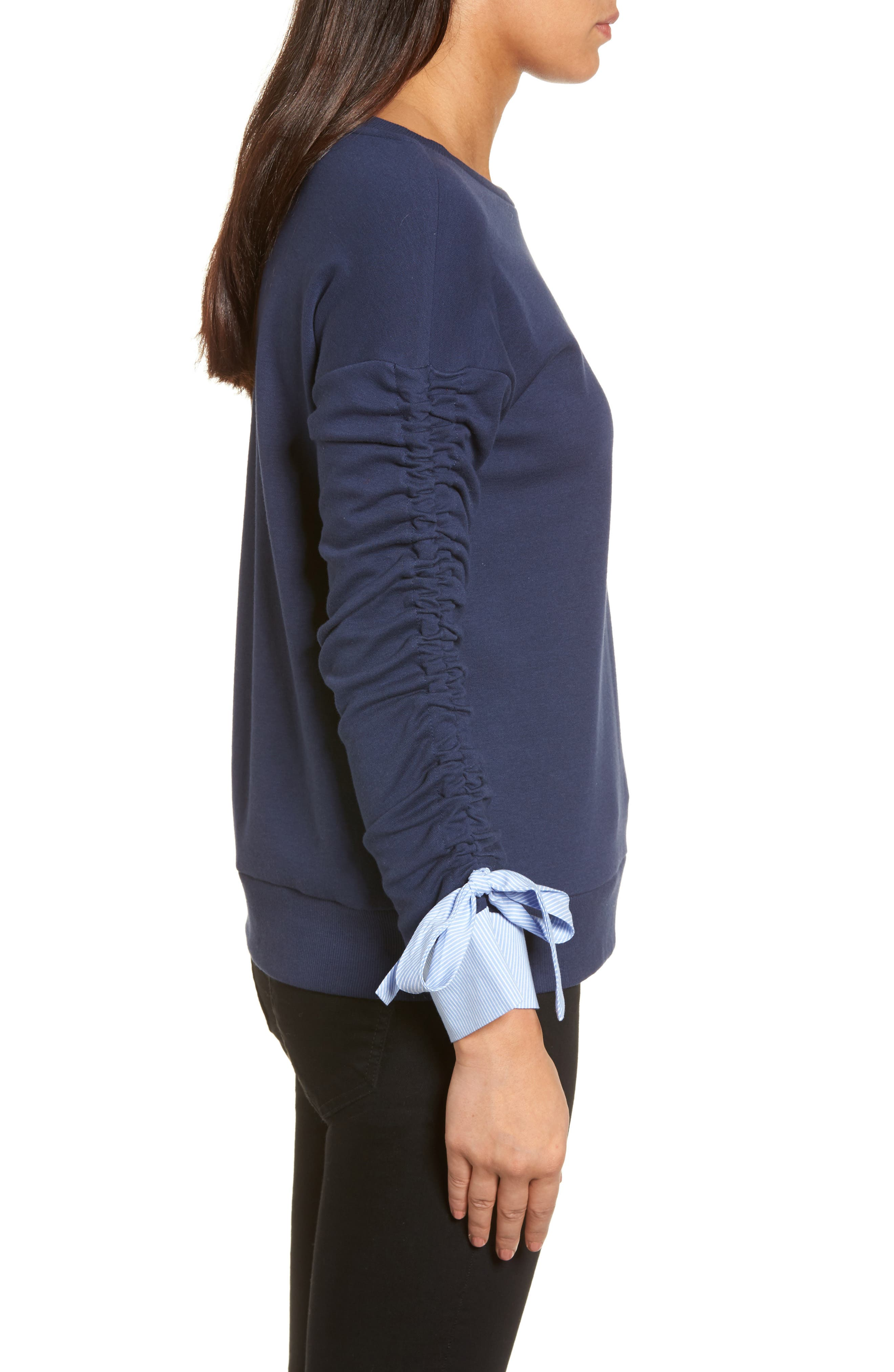 Ruched Sleeve Poplin Trim Sweatshirt,                             Alternate thumbnail 11, color,