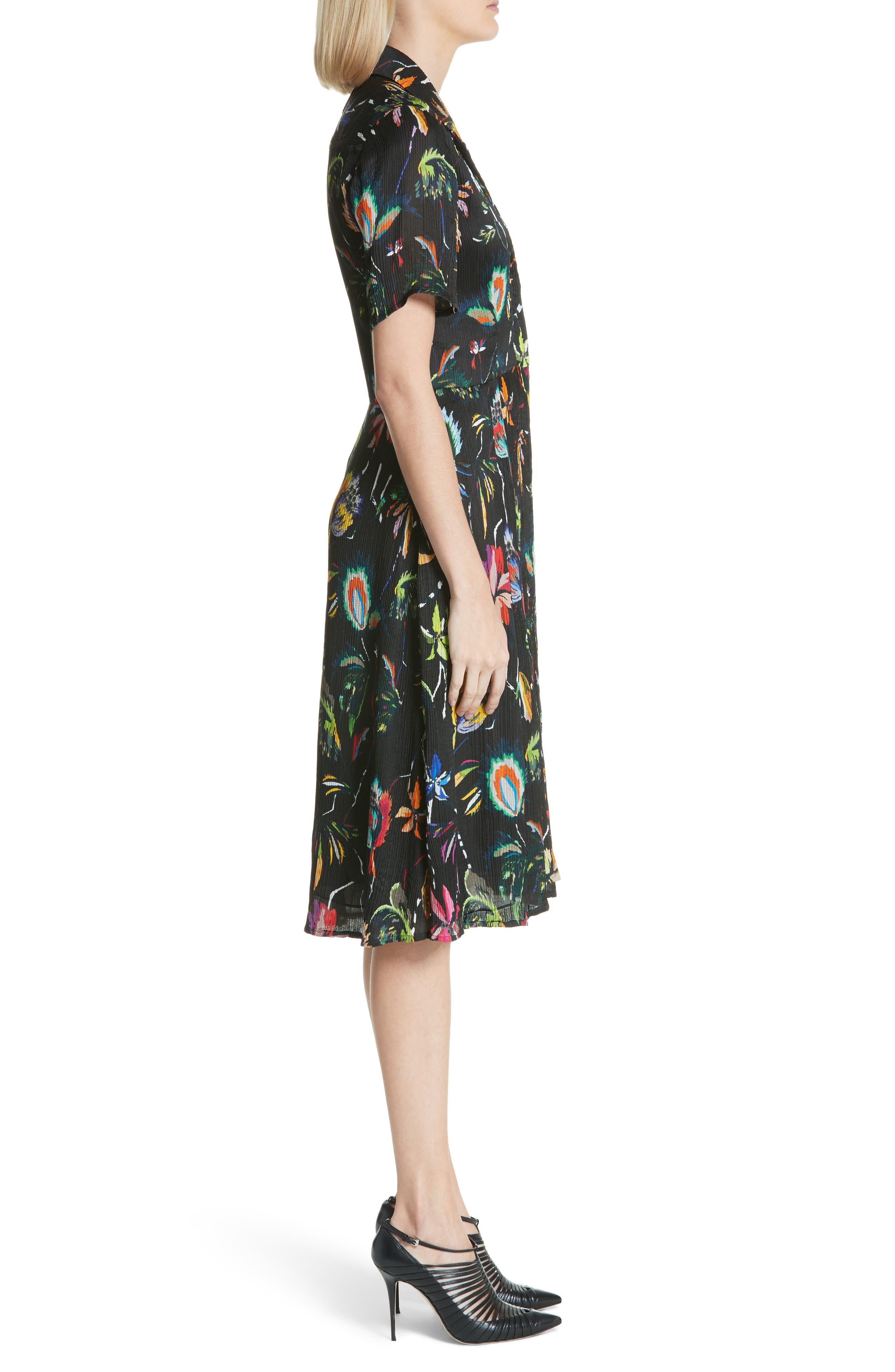 Floral Print Plissé Silk Crepon Dress,                             Alternate thumbnail 3, color,                             002